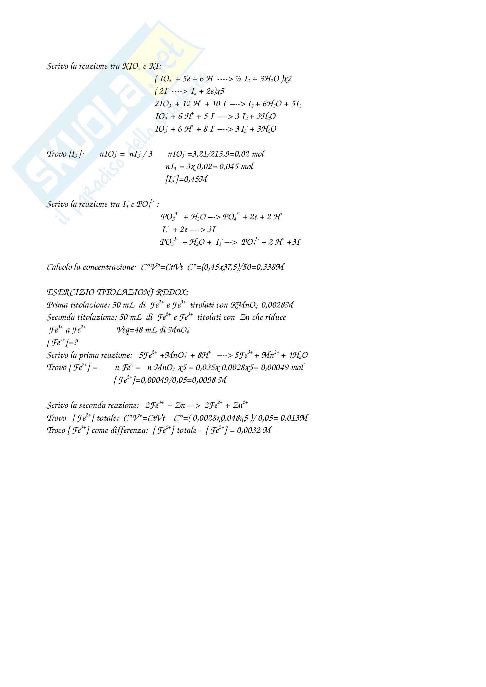 Elettrochimica e titolazioni redox- esercizi Pag. 6