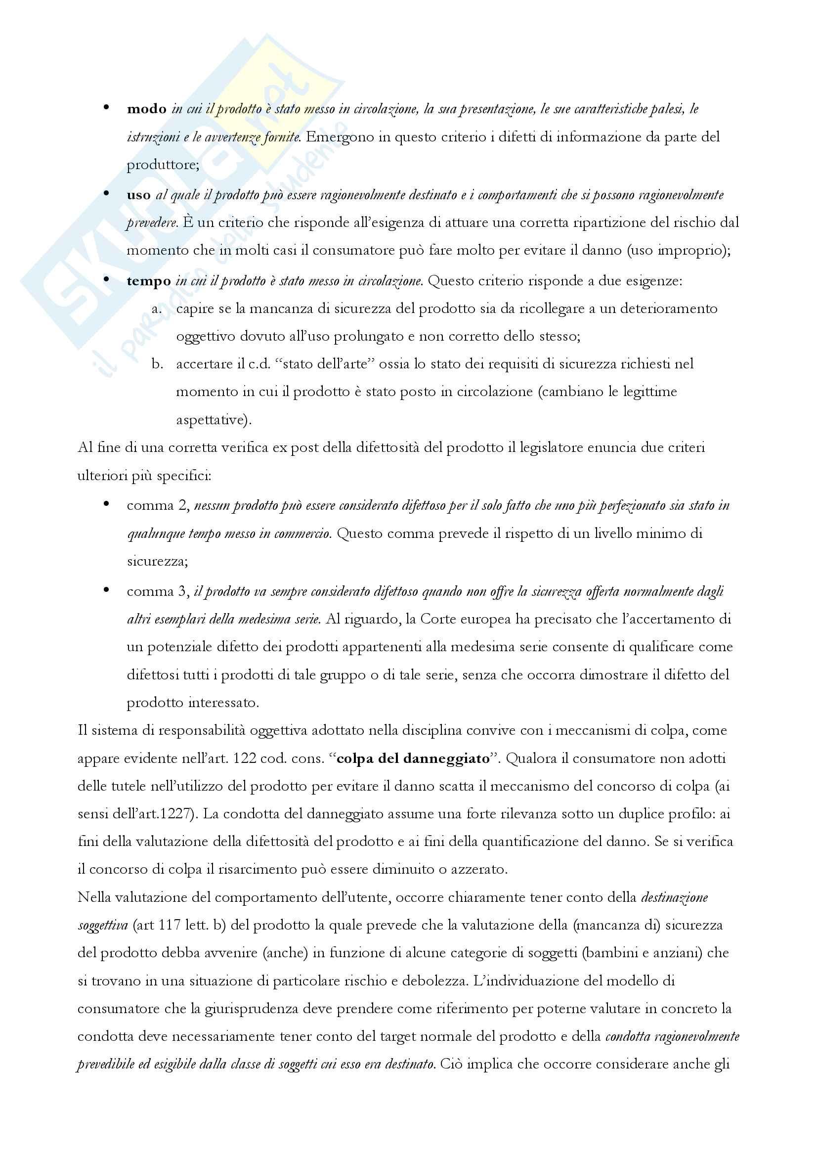 """Riassunto esame di """"Responsabilità d'impresa e consumatori"""", prof. Elena Bellisario Pag. 46"""