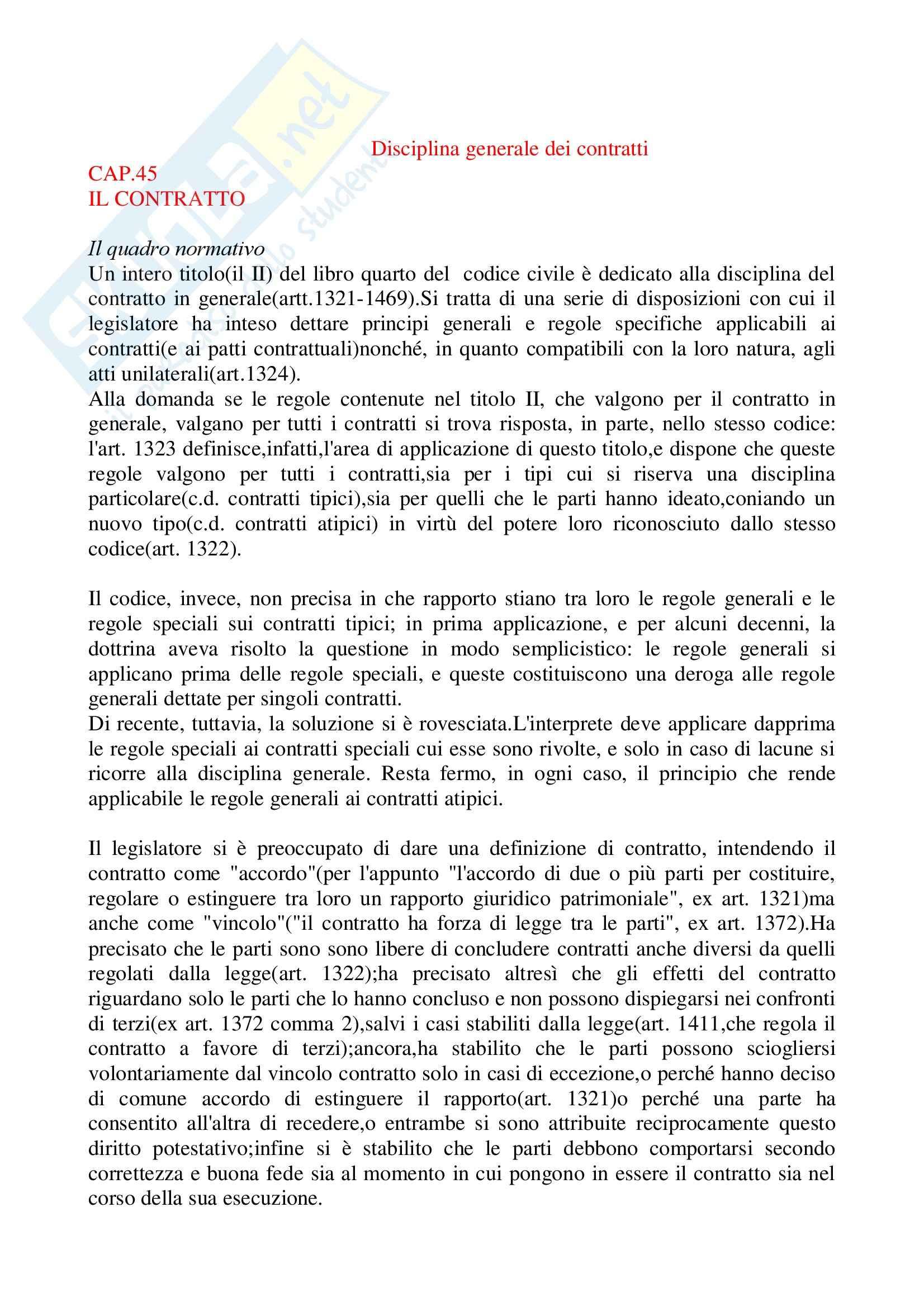 Riassunto esame Diritto delle Obbligazioni e dei Contratti, prof. Carboni, libro consigliato, Bessone