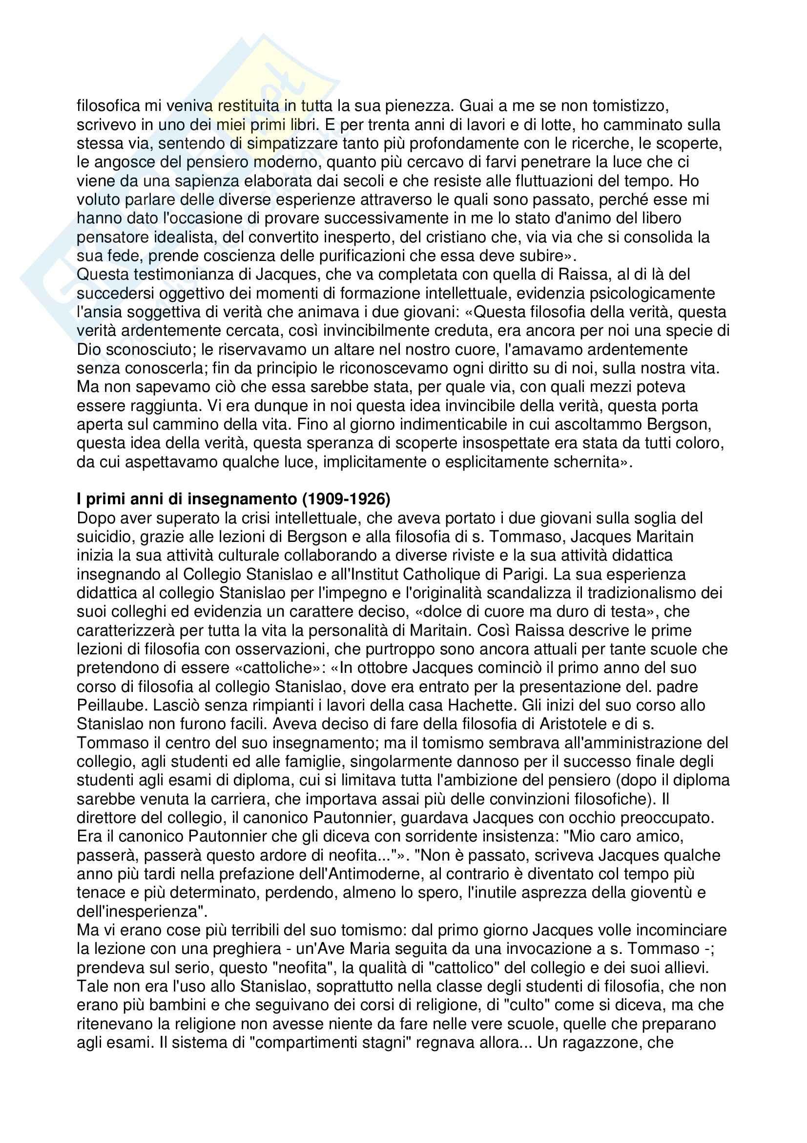 Istituzioni di Filosofia I - il pensiero di Jacques Maritain Pag. 2