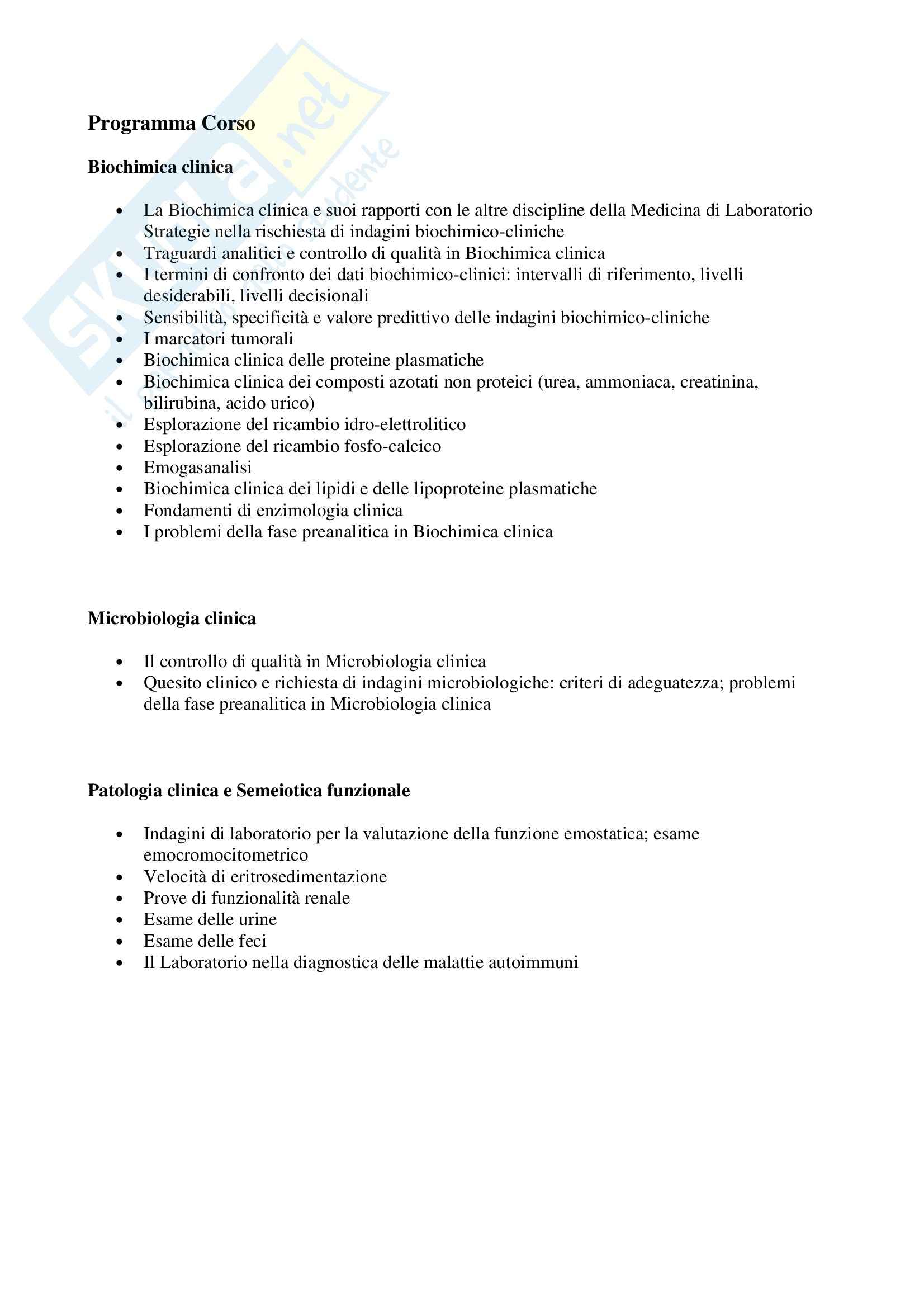 Metodologia Clinica - Programma