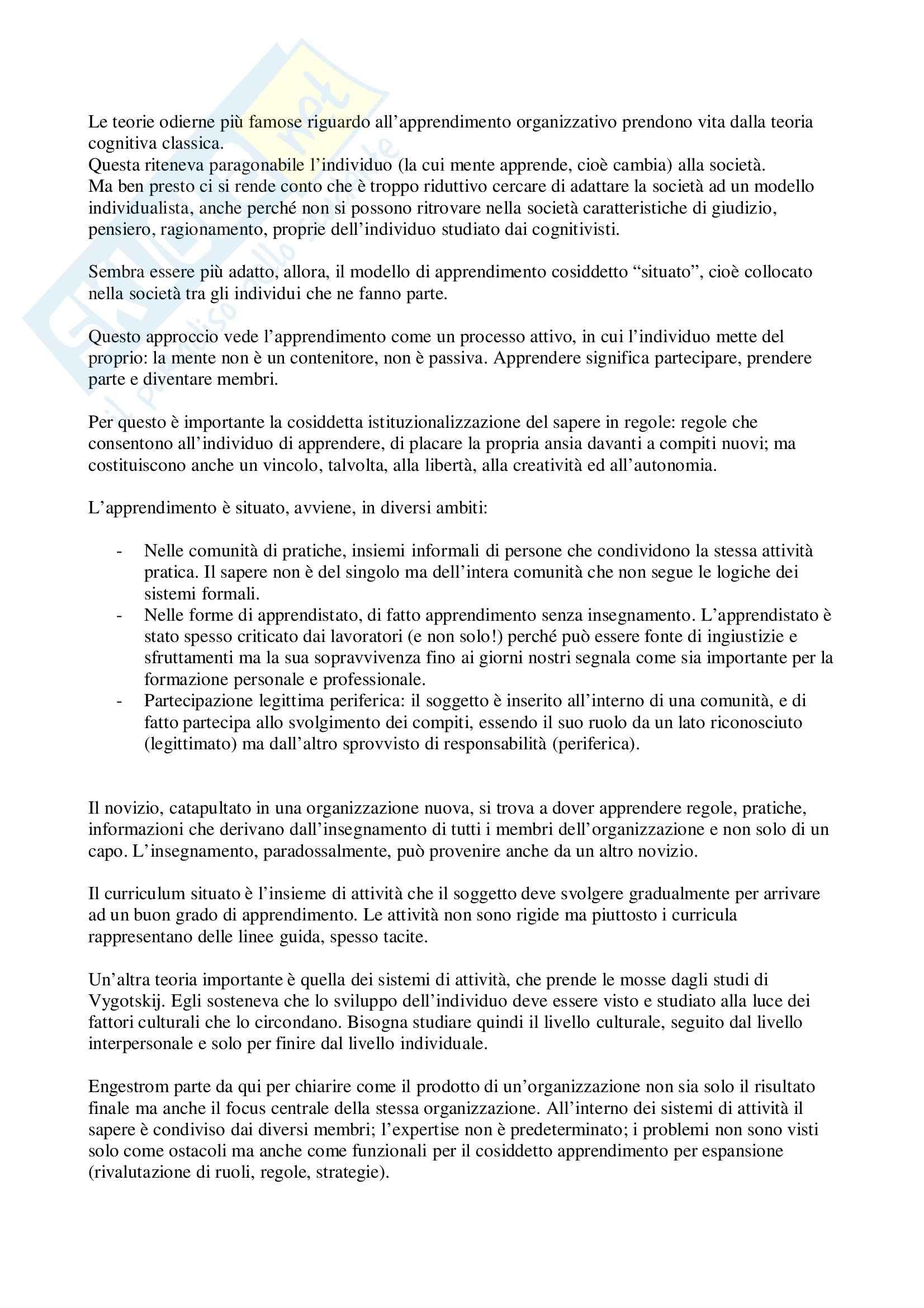 Sociologia delle organizzazioni – Apprendimento