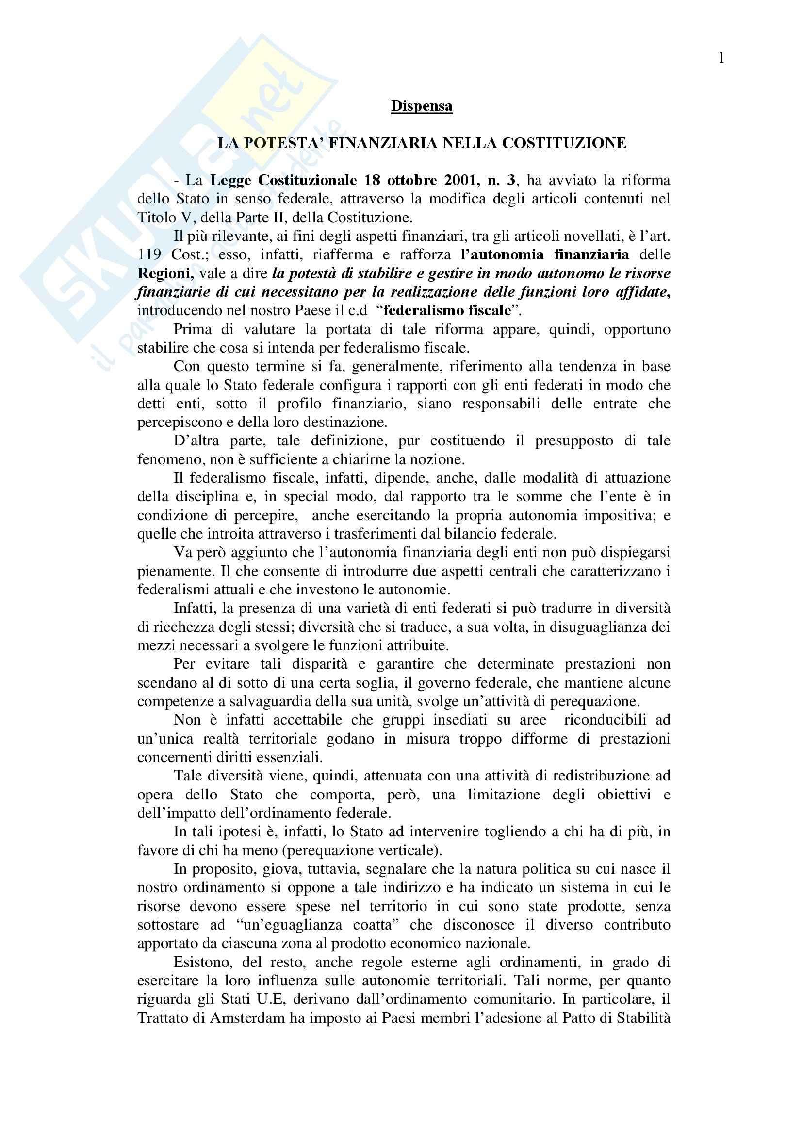 Diritto finanziario - La potestà finanziaria nella Costituzione