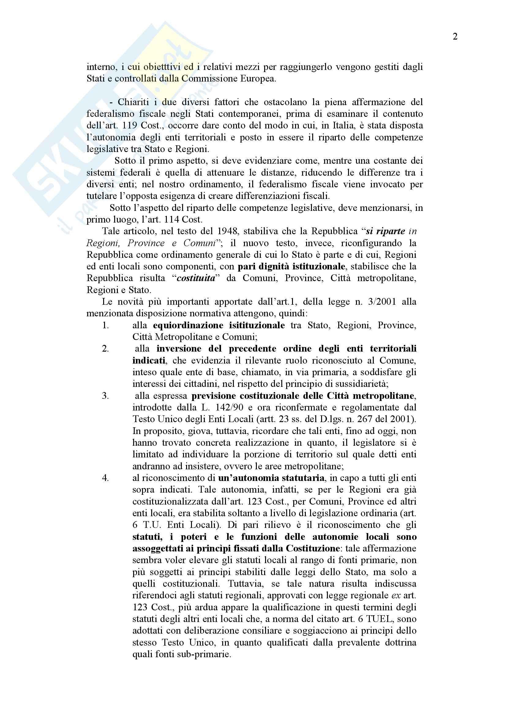 Diritto finanziario - La potestà finanziaria nella Costituzione Pag. 2