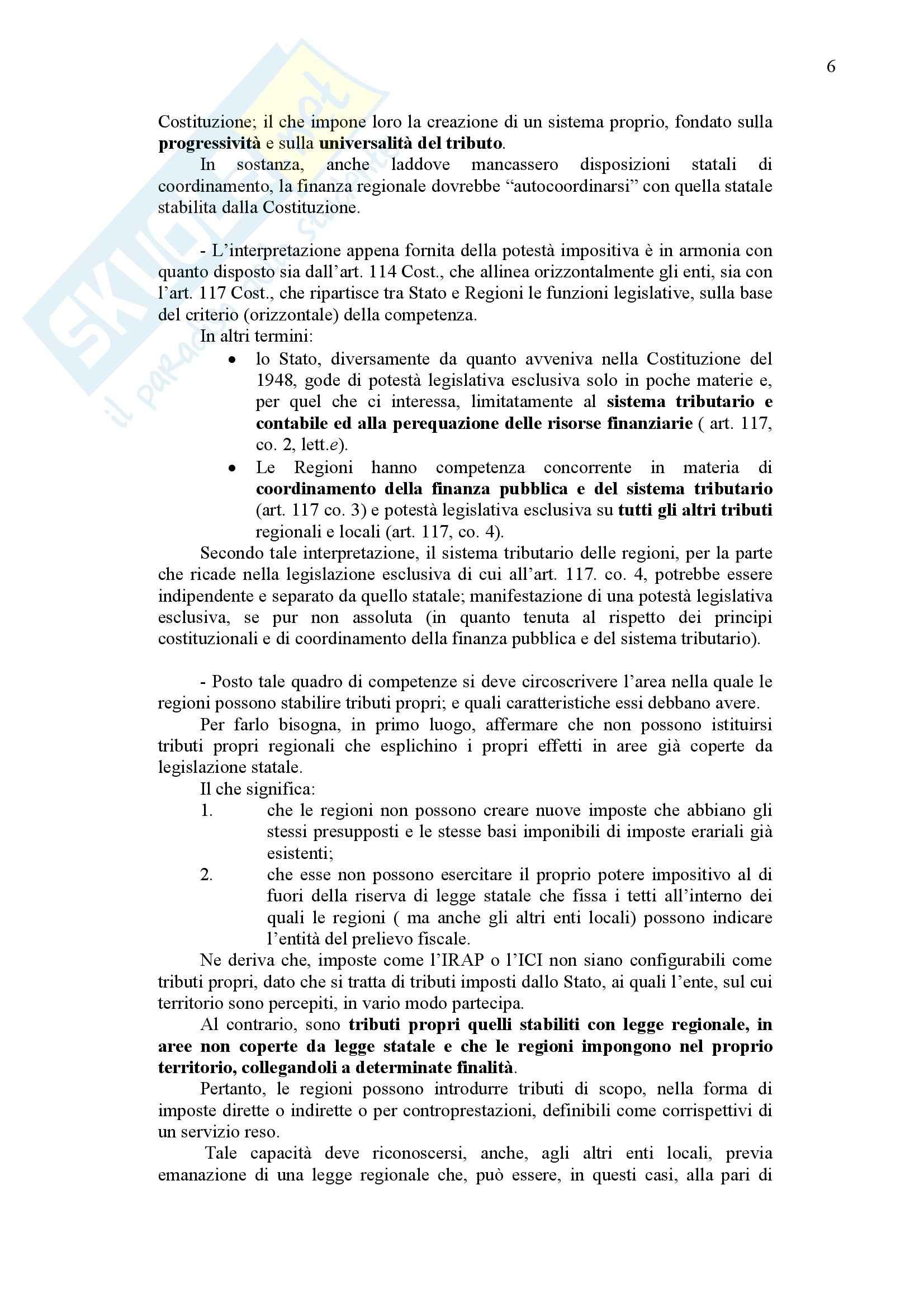 Diritto finanziario - La potestà finanziaria nella Costituzione Pag. 6
