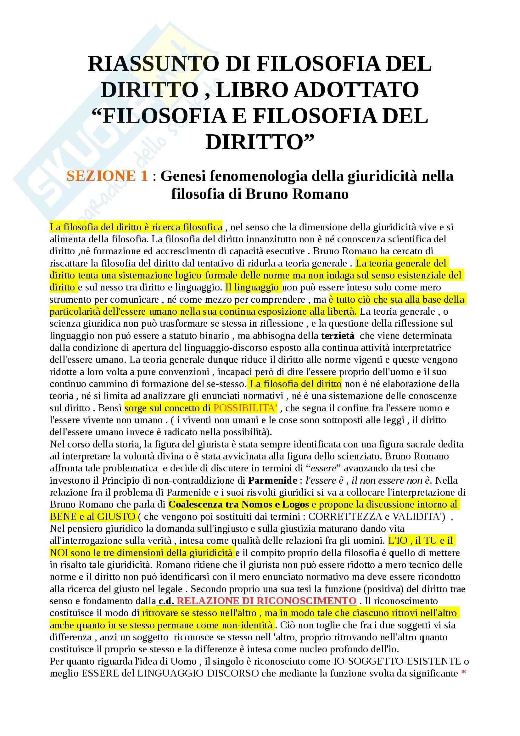 Riassunto esame Filosofia del diritto, prof. Romano, libro consigliato Filosofia e filosofie del diritto