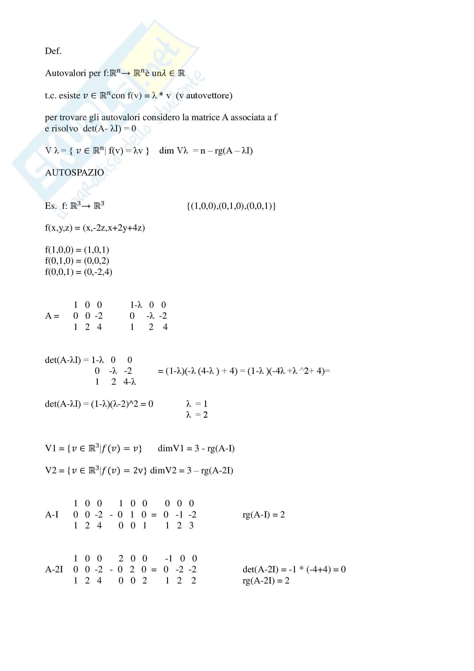 Algebra e geometria - autovalori e autovettori