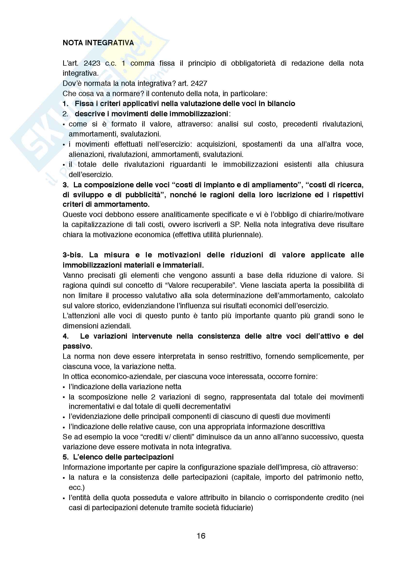 Appunti di Bilanci Aziendali, prof. Malvestito Pag. 16
