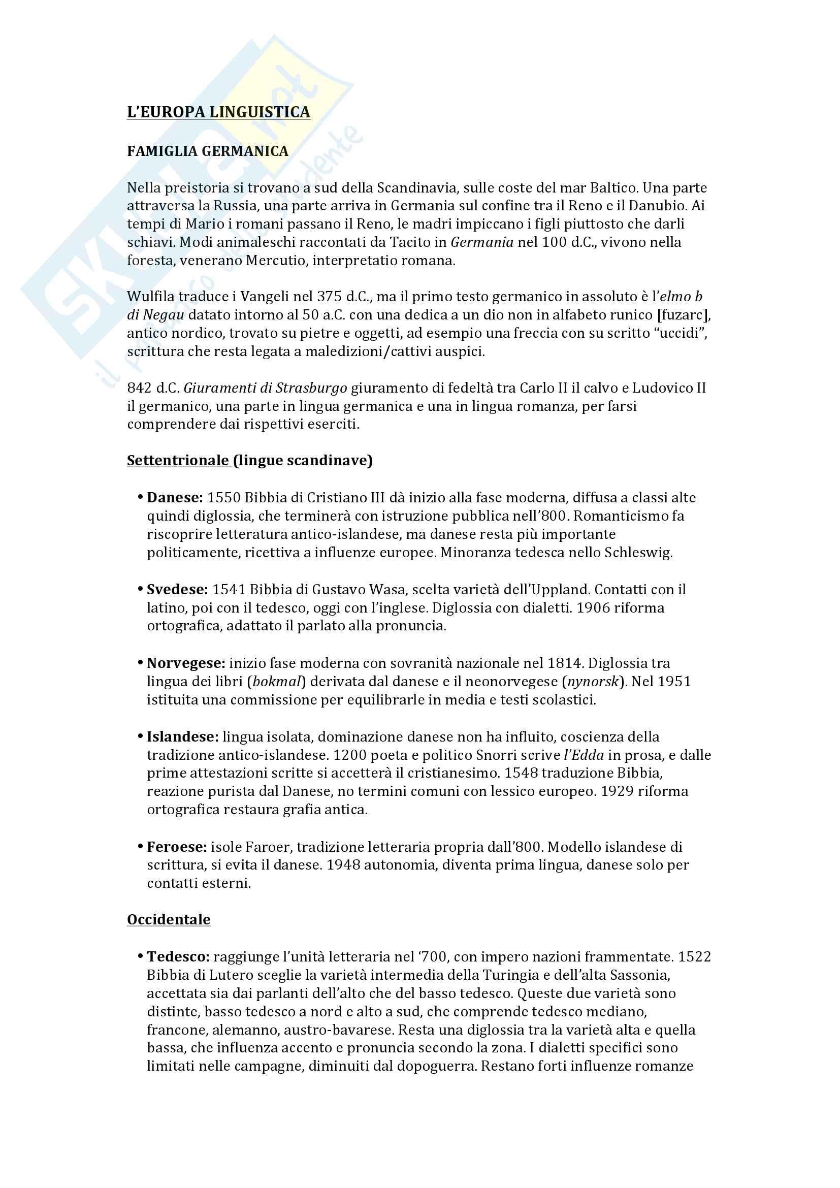 Appunti Europa Linguistica, docente Caprini