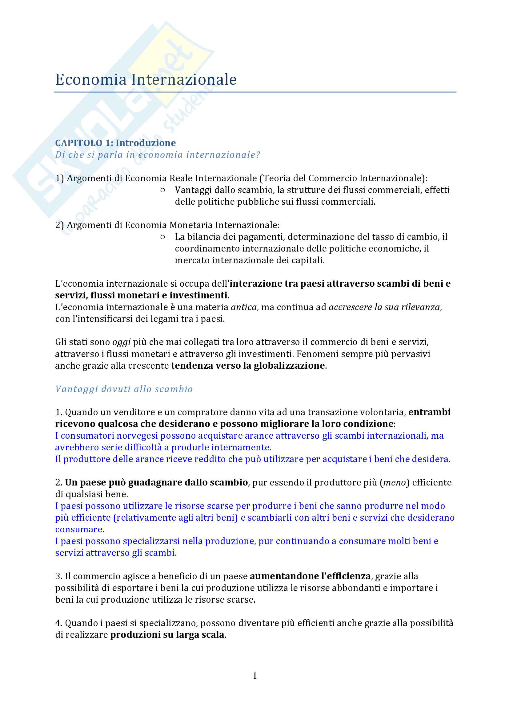 appunto M. Lossani Economia internazionale