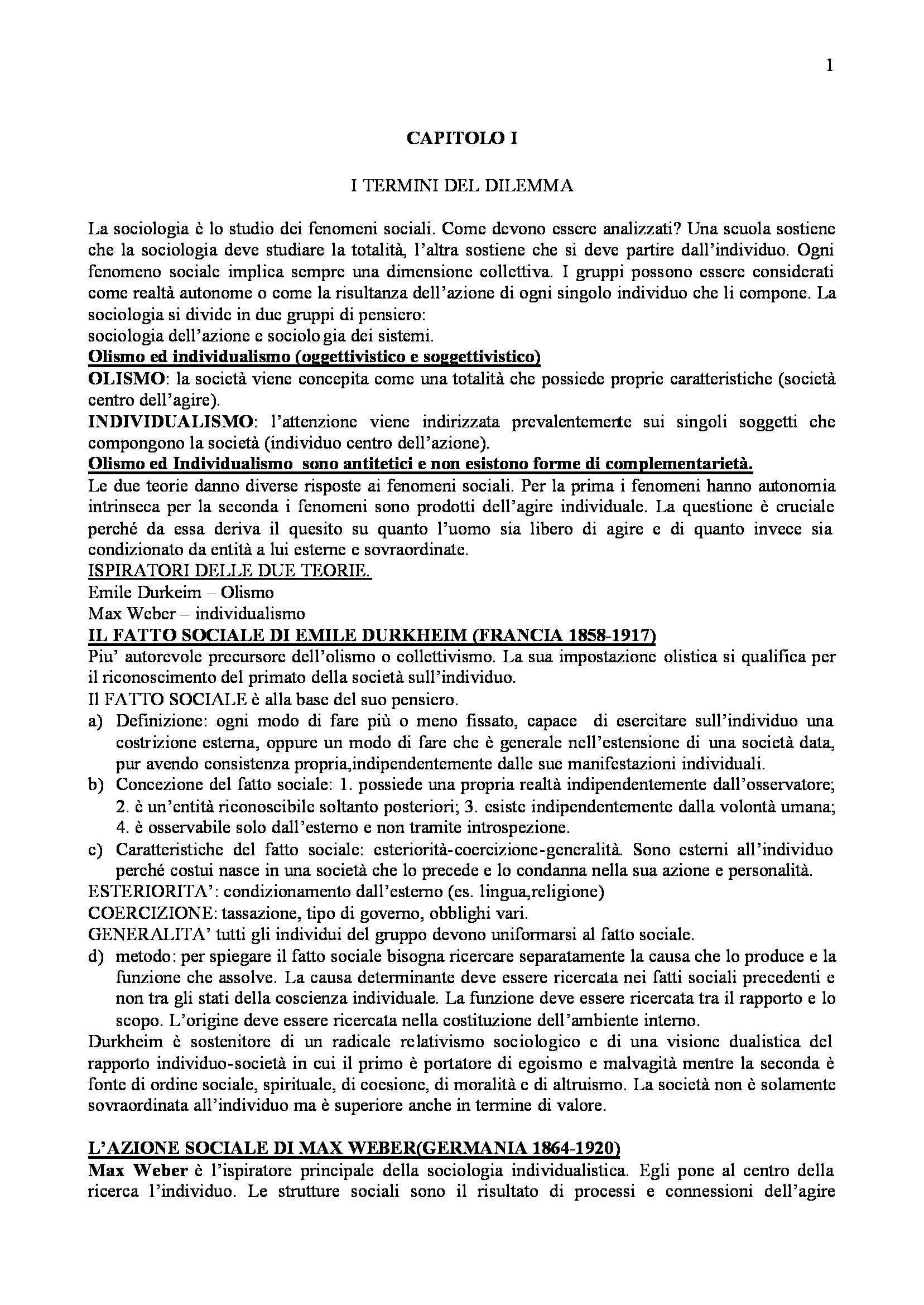 Riassunto esame Sociologia Generale, prof. Clemente, libro consigliato Sociologia, Teorie e Problemi, Cesareo