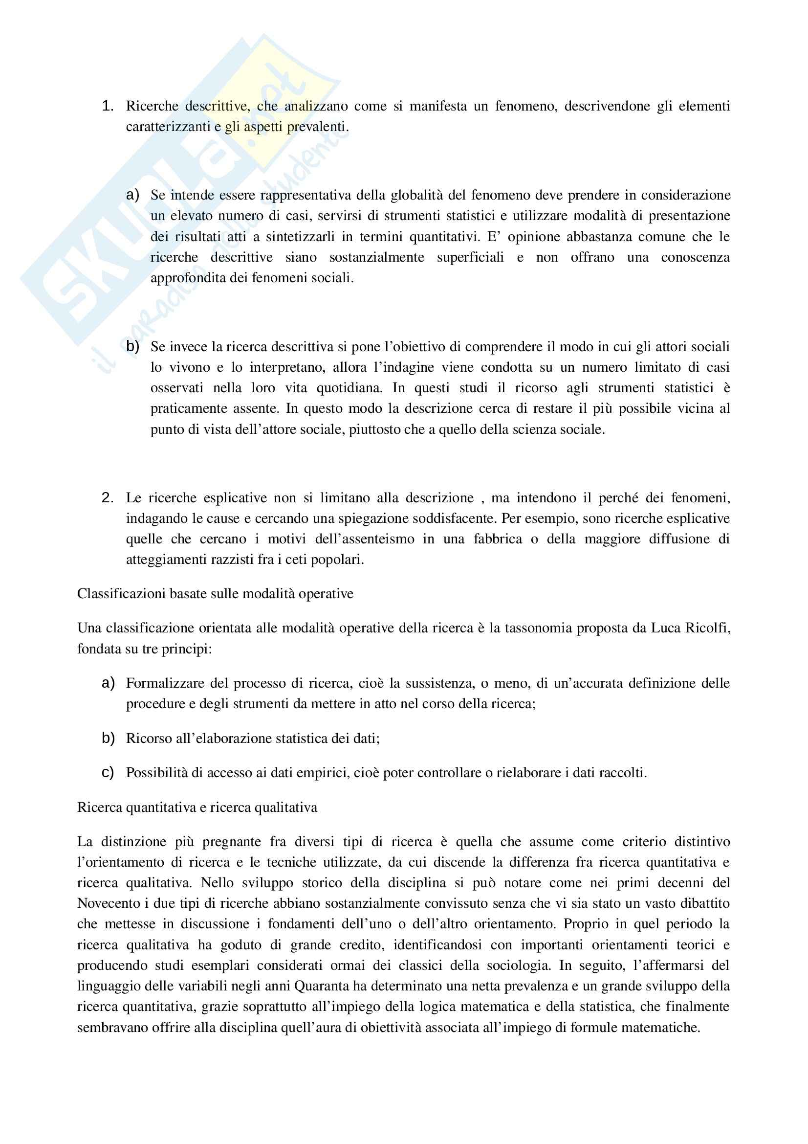 Riassunto esame Ricerca Sociale, prof. Mancarella, libro consigliato Metodologia e Tecniche della Ricerca Sociale, Toriano Pag. 11