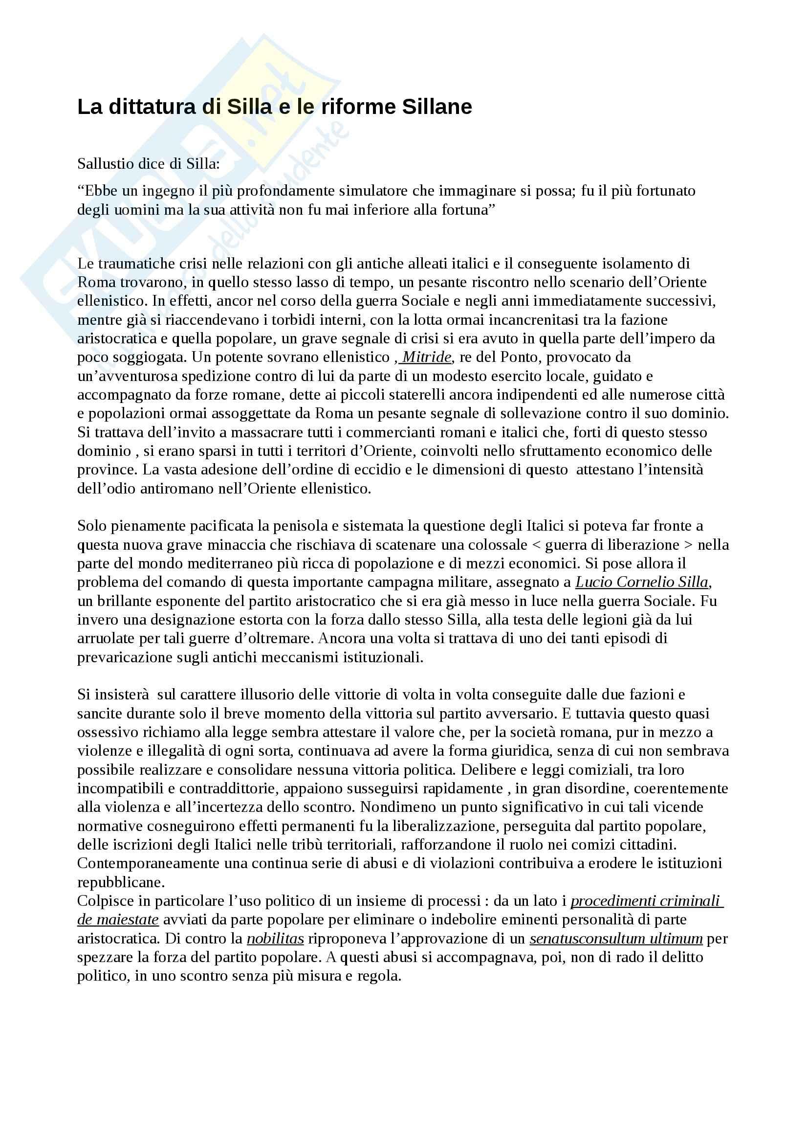 Silla, dittatura e riforme, Istituzioni di diritto romano