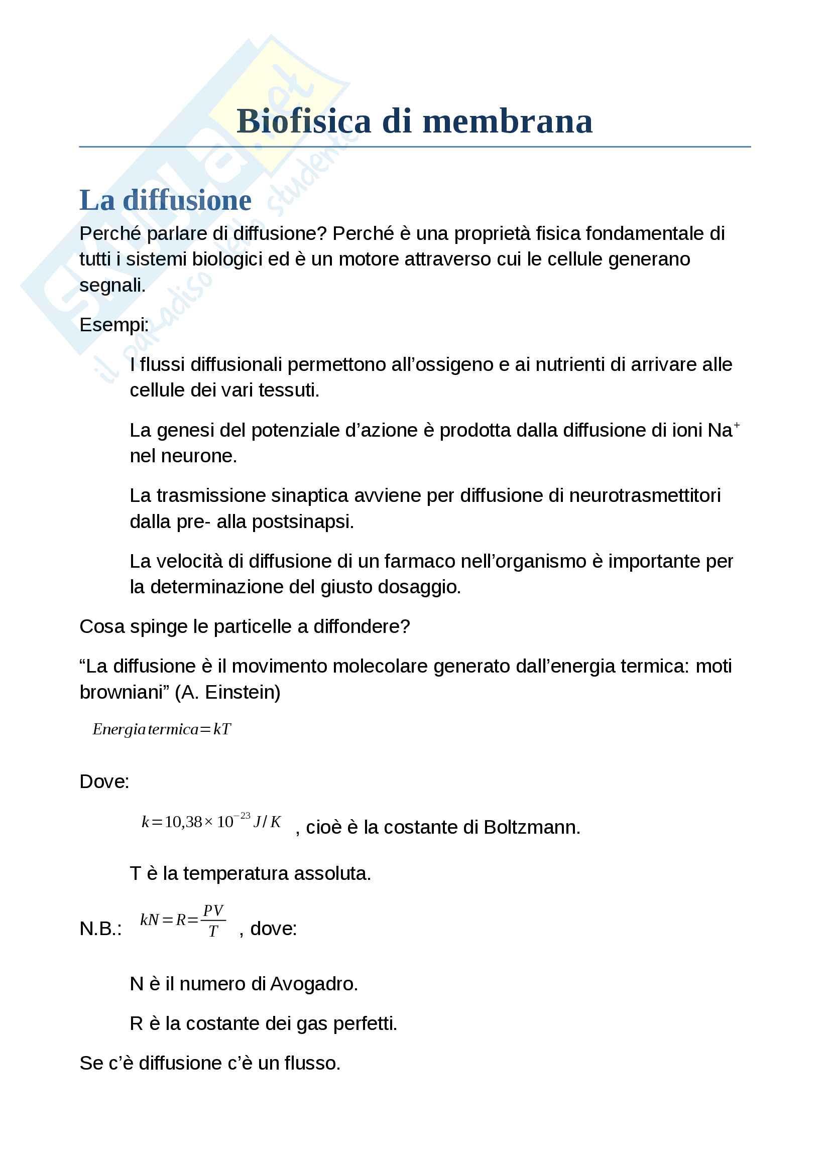 Appunti di Biofisica di membrana ed elettrofisiologia
