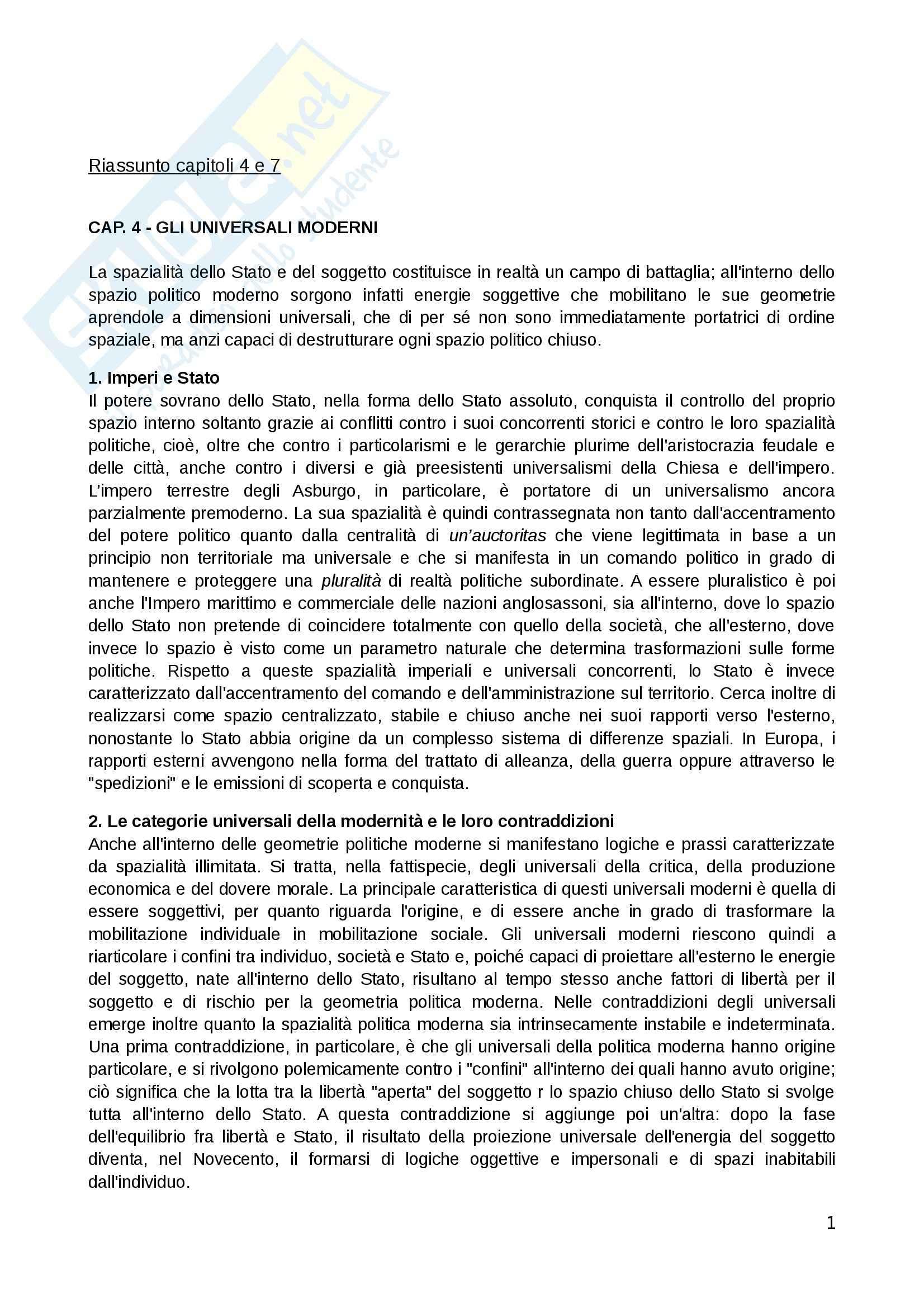 Riassunto esame Teorie Politiche, prof. Chiantera, libro consigliato Spazi Politici, Galli