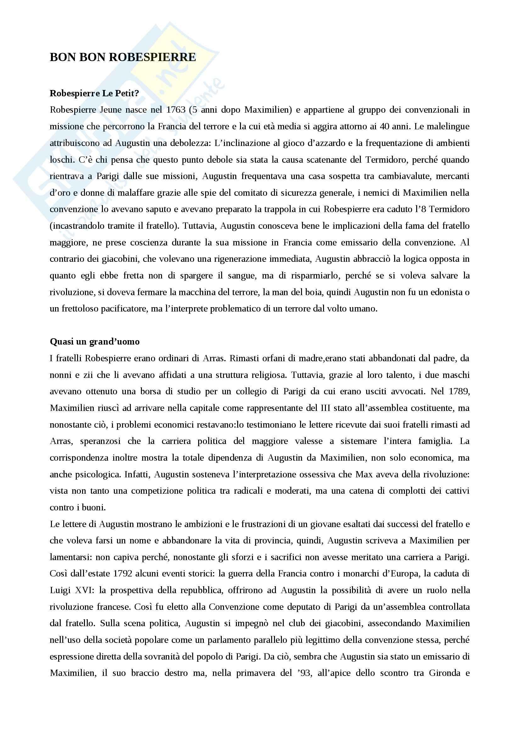 Riassunto esame storia moderna, prof. Imbruglia, libro consigliato Bonbon Robespierre, Luzzatto