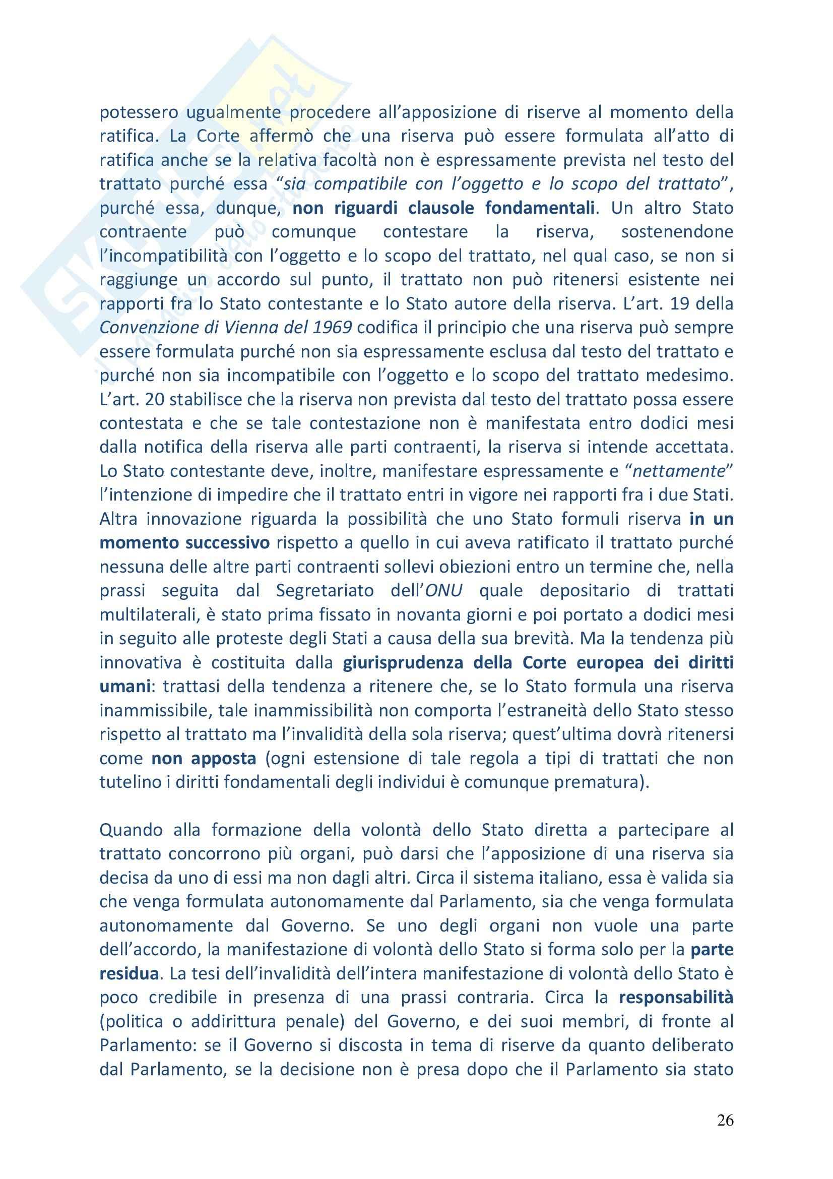 Riassunto esame Diritto Internazionale, prof. Vitucci, libro consigliato Diritto Internazionale, Conforti Pag. 26