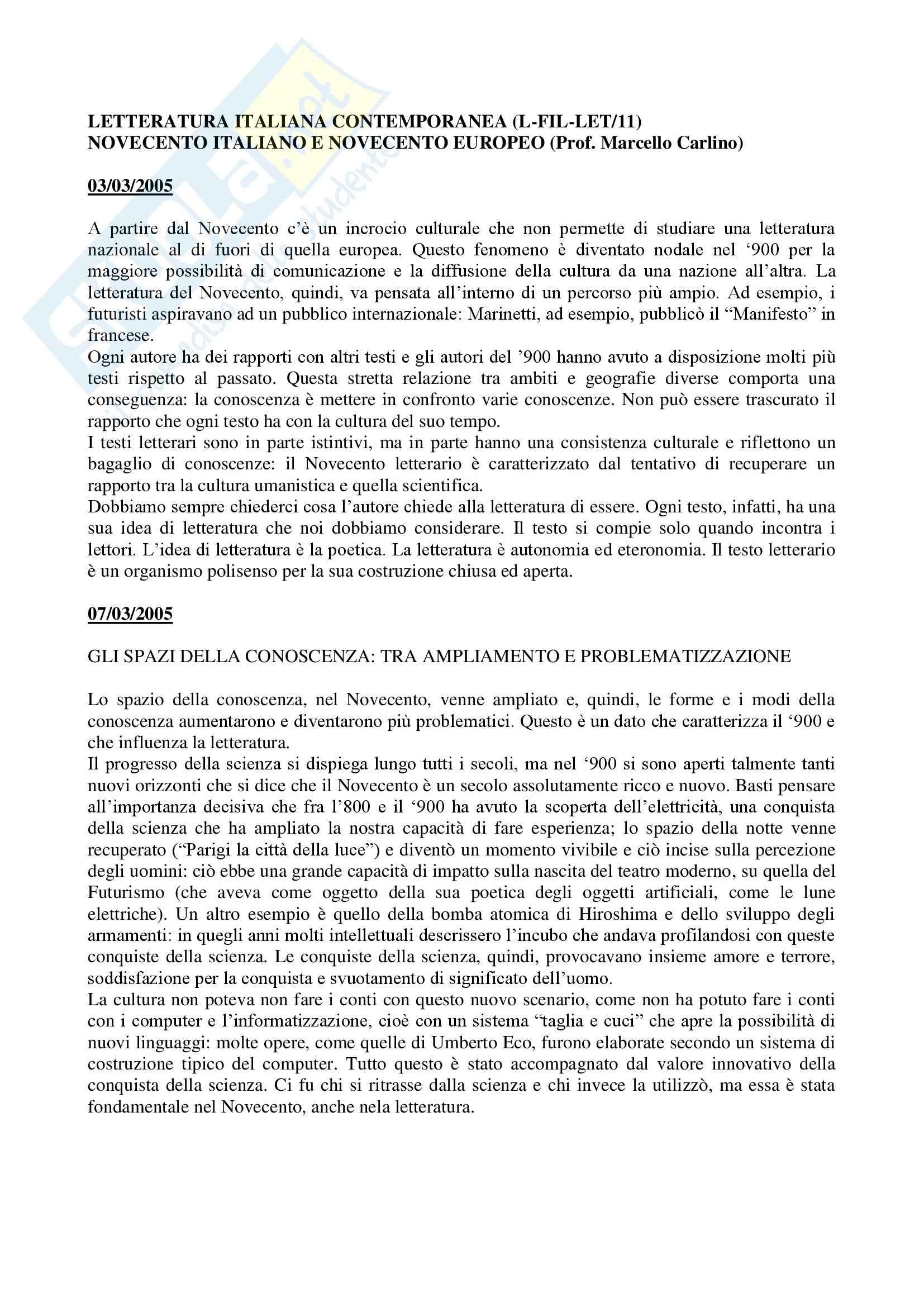 appunto M. Carlino Letteratura Italiana