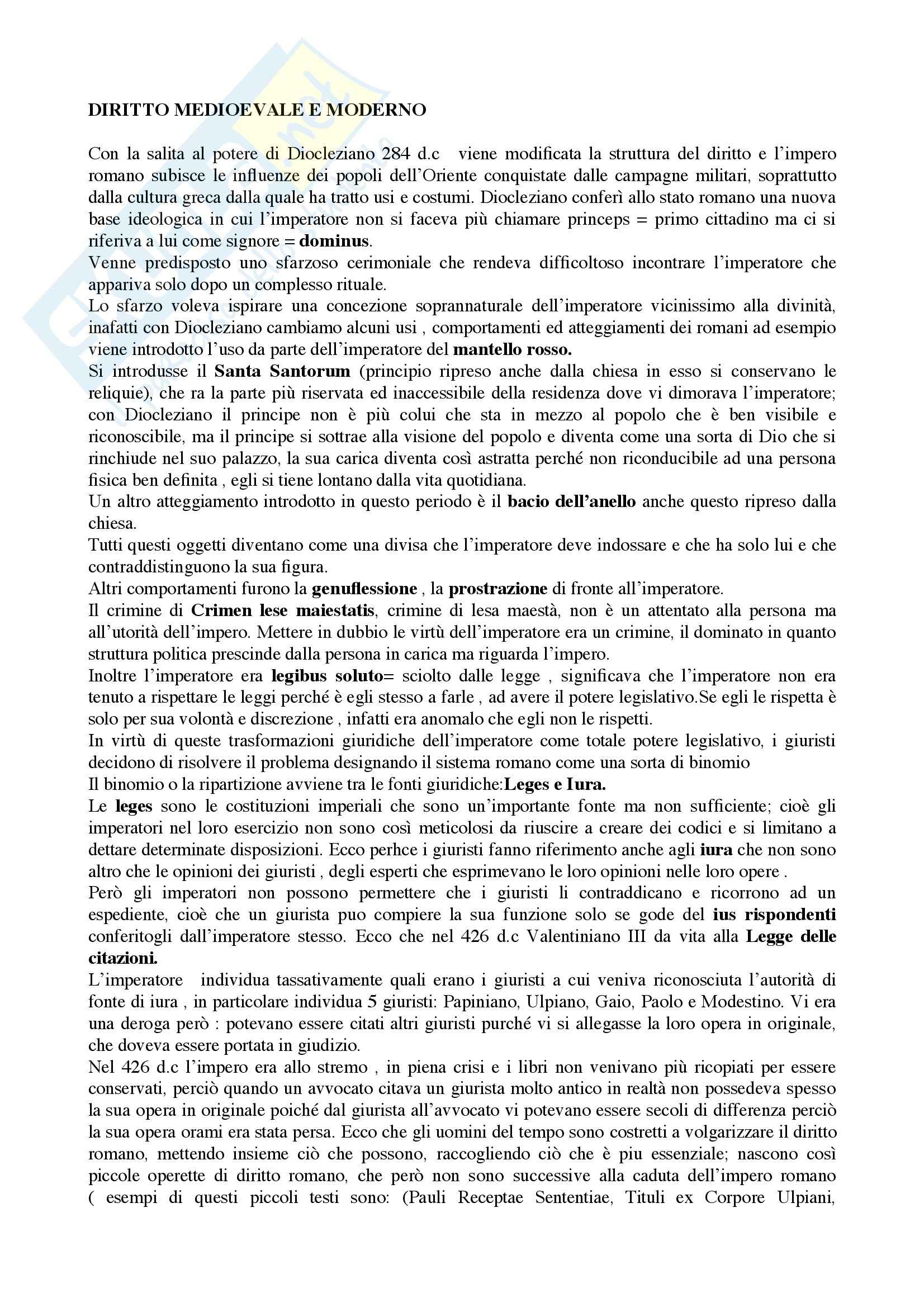 Riassunto esame Storia del diritto italiano, prof. Petronio, libro consigliato Le grandi linee della storia giuridica medievale, Cortese