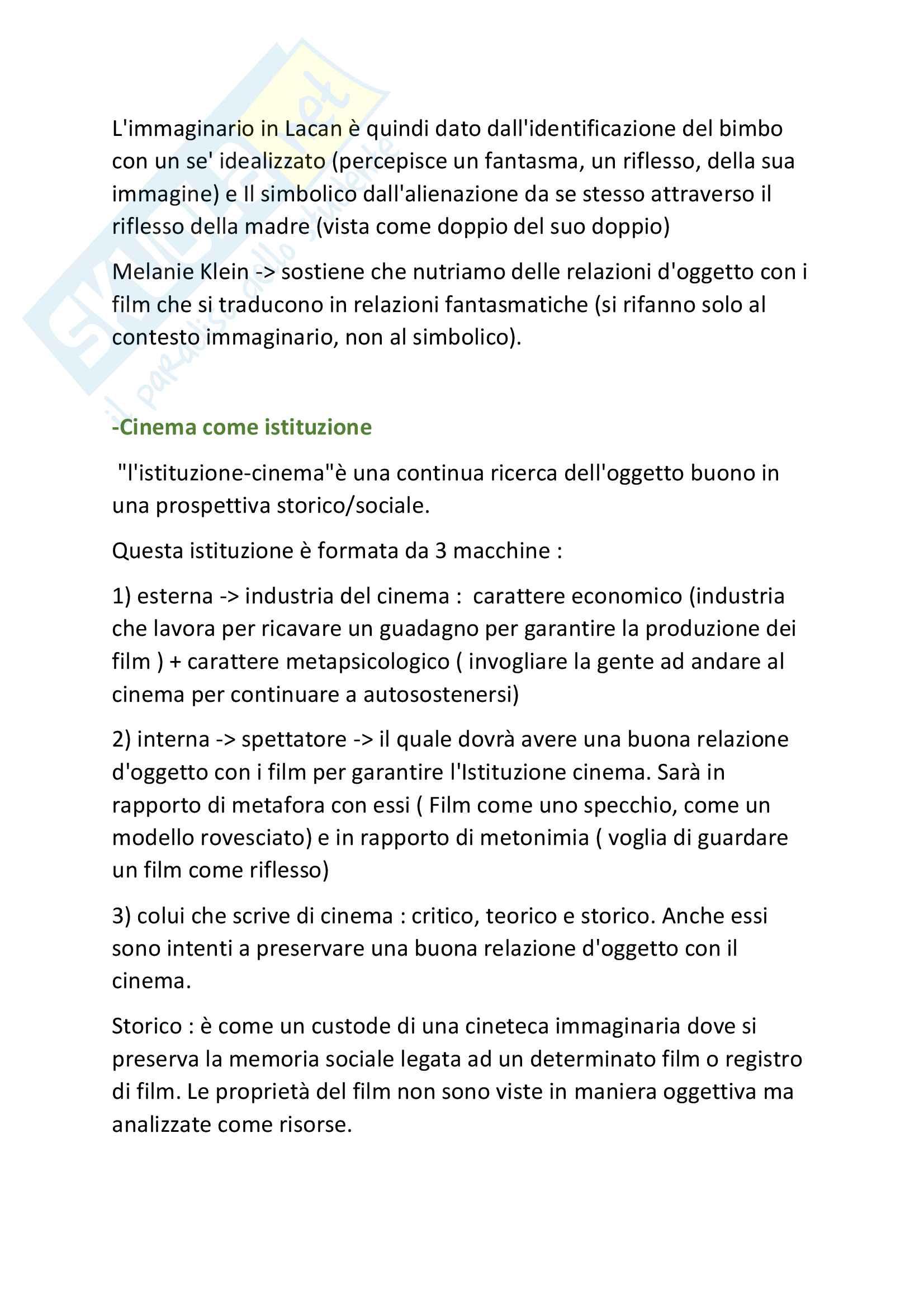 Riassunto esame Pedagogia Generale, prof. Galanti, libro consigliato Cinema e Psicanalisi, Metz Pag. 2