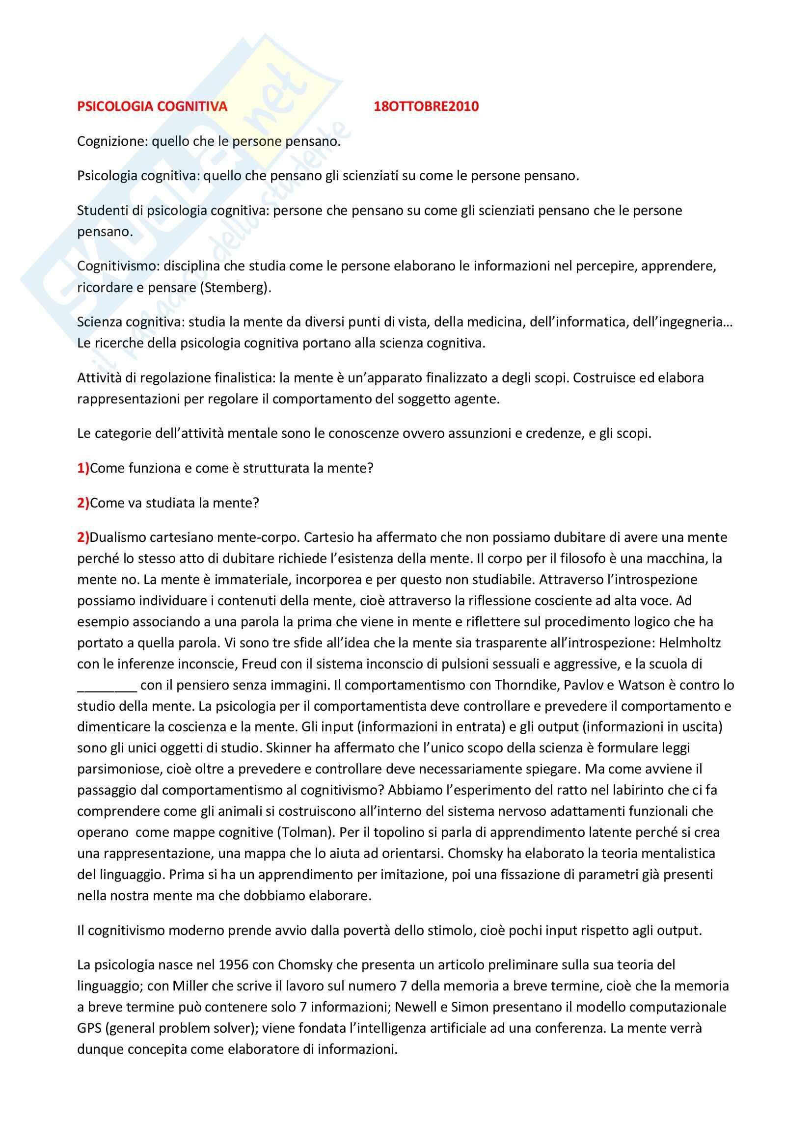 appunto A. Gangemi Psicologia cognitiva