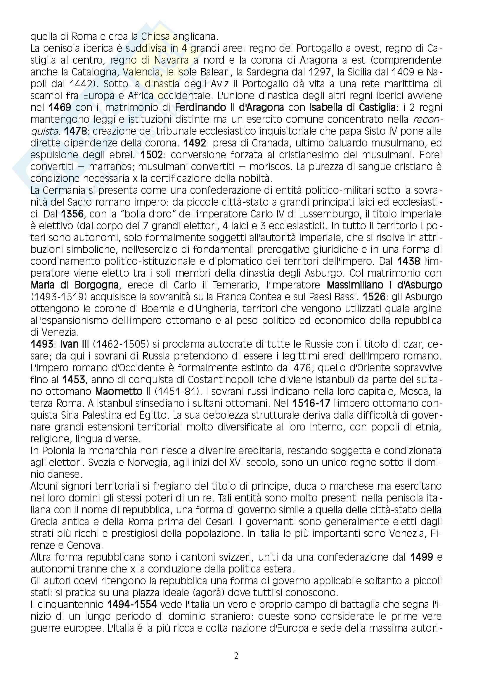 Riassunto esame Storia Moderna, prof. Casella, libro consigliato L'età moderna, Dalla scoperta dell'America alla Restaurazione, Benigno Pag. 2