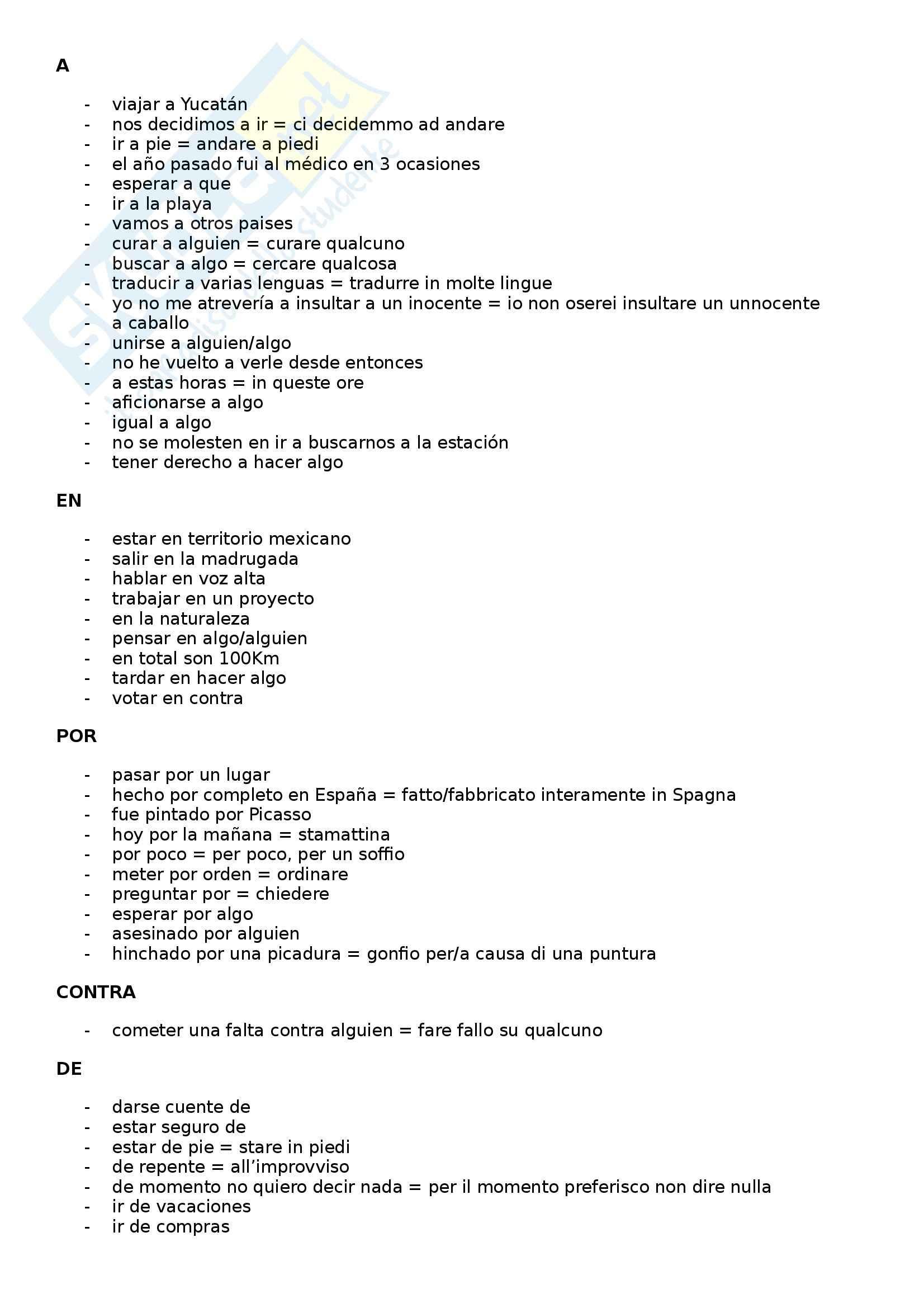 Lingua spagnola - Elenco di usi particolari delle preposizioni in spagnolo
