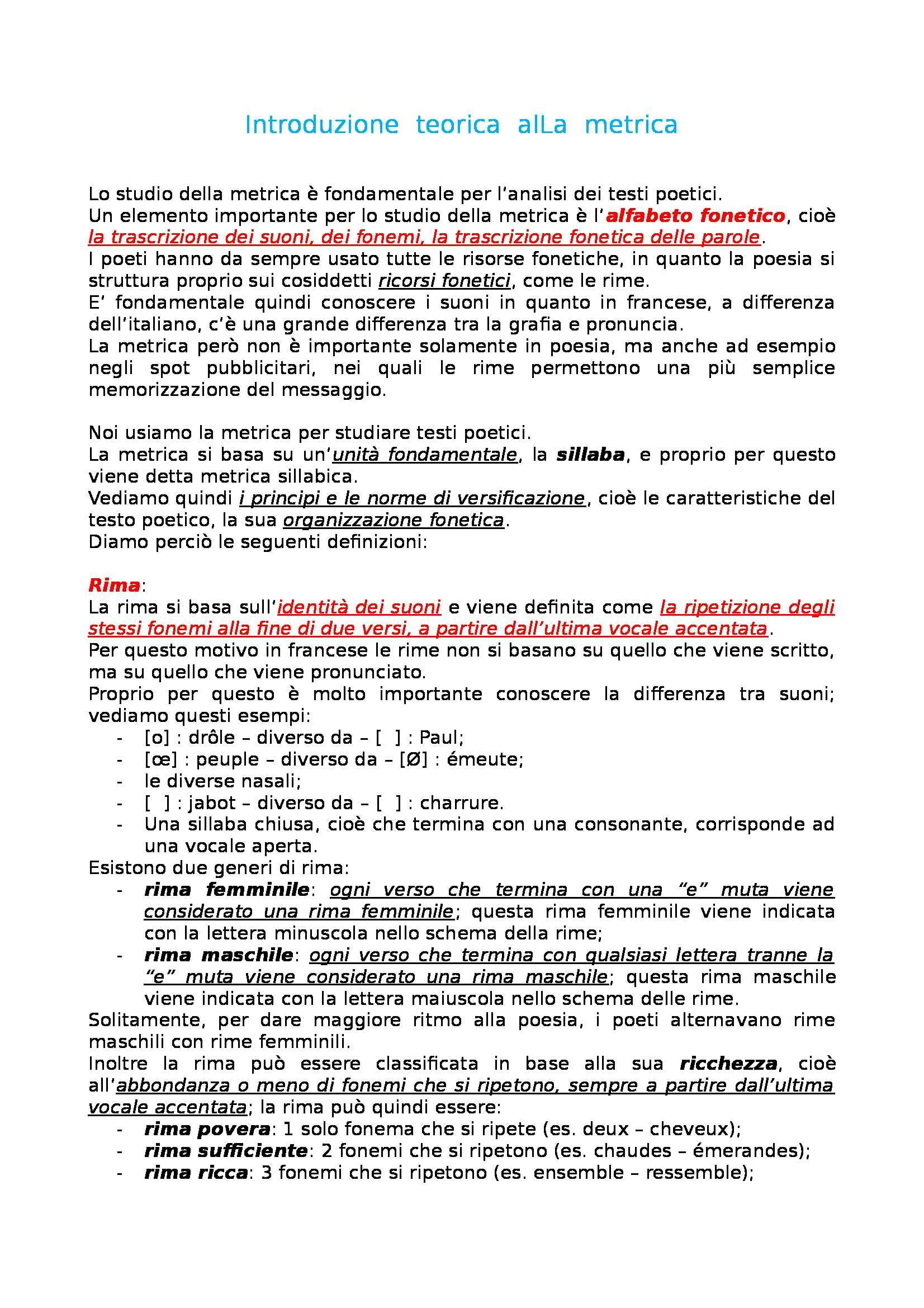 Letteratura francese - introduzione teorica alla metrica