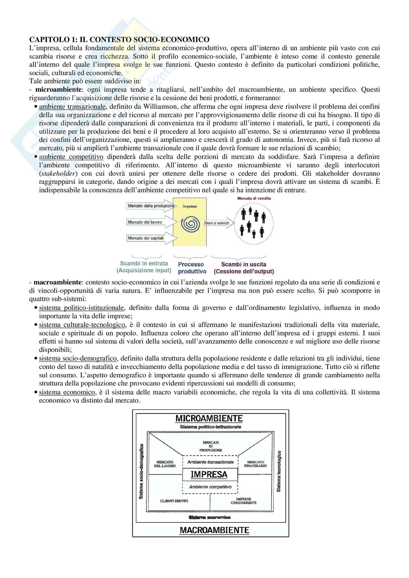 Riassunto esame Economia e Gestione delle Imprese, prof. Sorrentino, libro consigliato Elementi di Economia e Gestione delle Imprese, Sciarelli