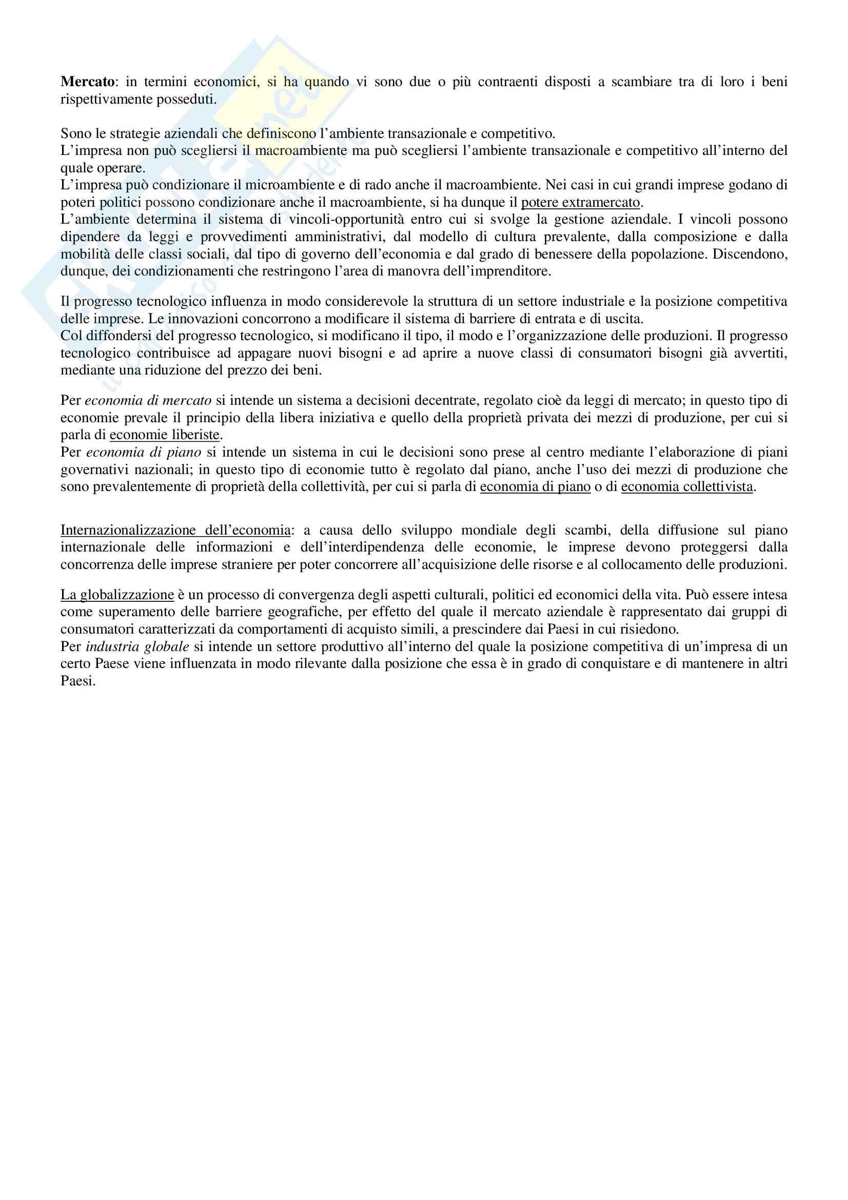 Riassunto esame Economia e Gestione delle Imprese, prof. Sorrentino, libro consigliato Elementi di Economia e Gestione delle Imprese, Sciarelli Pag. 2