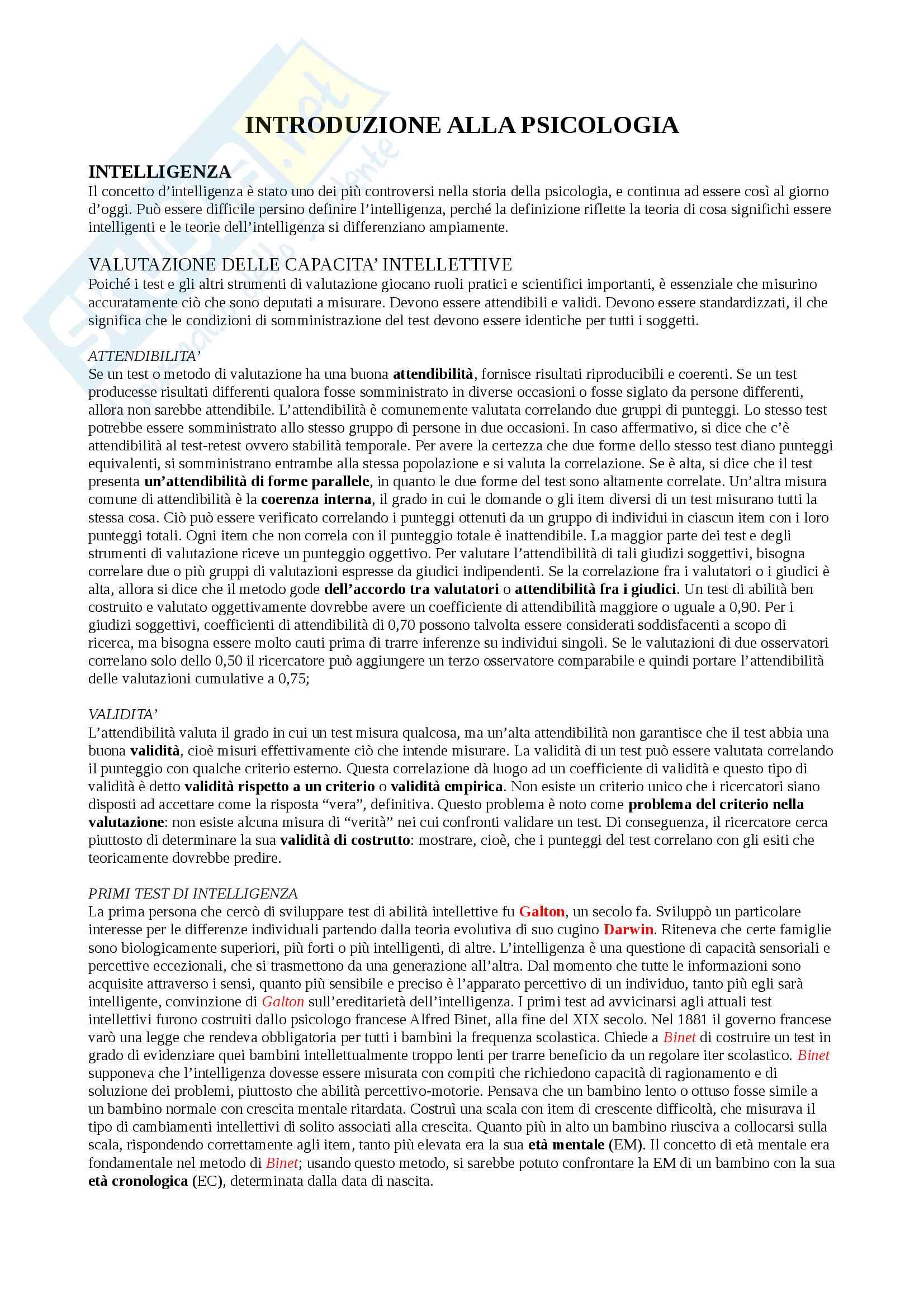 Riassunto esame Psicologia della personalità e delle differenze individuali, docente De Beni, libro consigliato Introduzione alla Psicologia, Atkinson, Hilgard