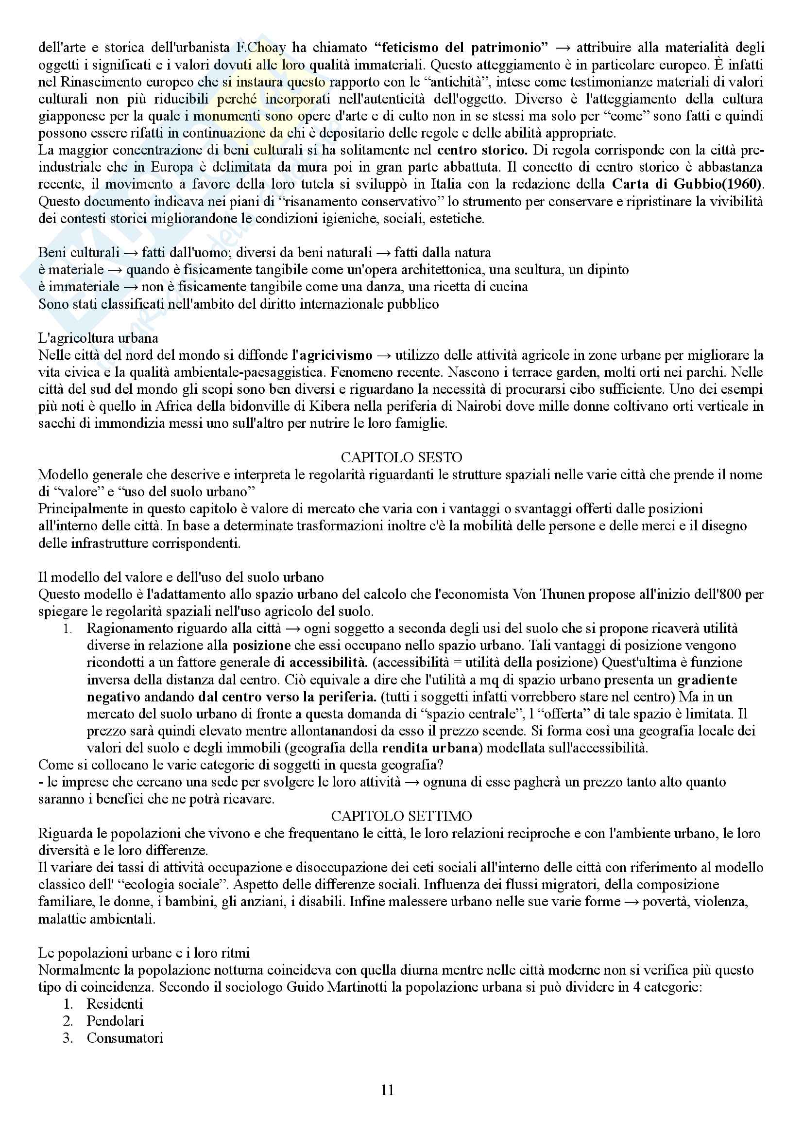 """Riassunto esame Geografia Culturale, prof. P.Macchia, libro consigliato """"Le città del mondo"""" autore Lanza/Dematteis Pag. 11"""