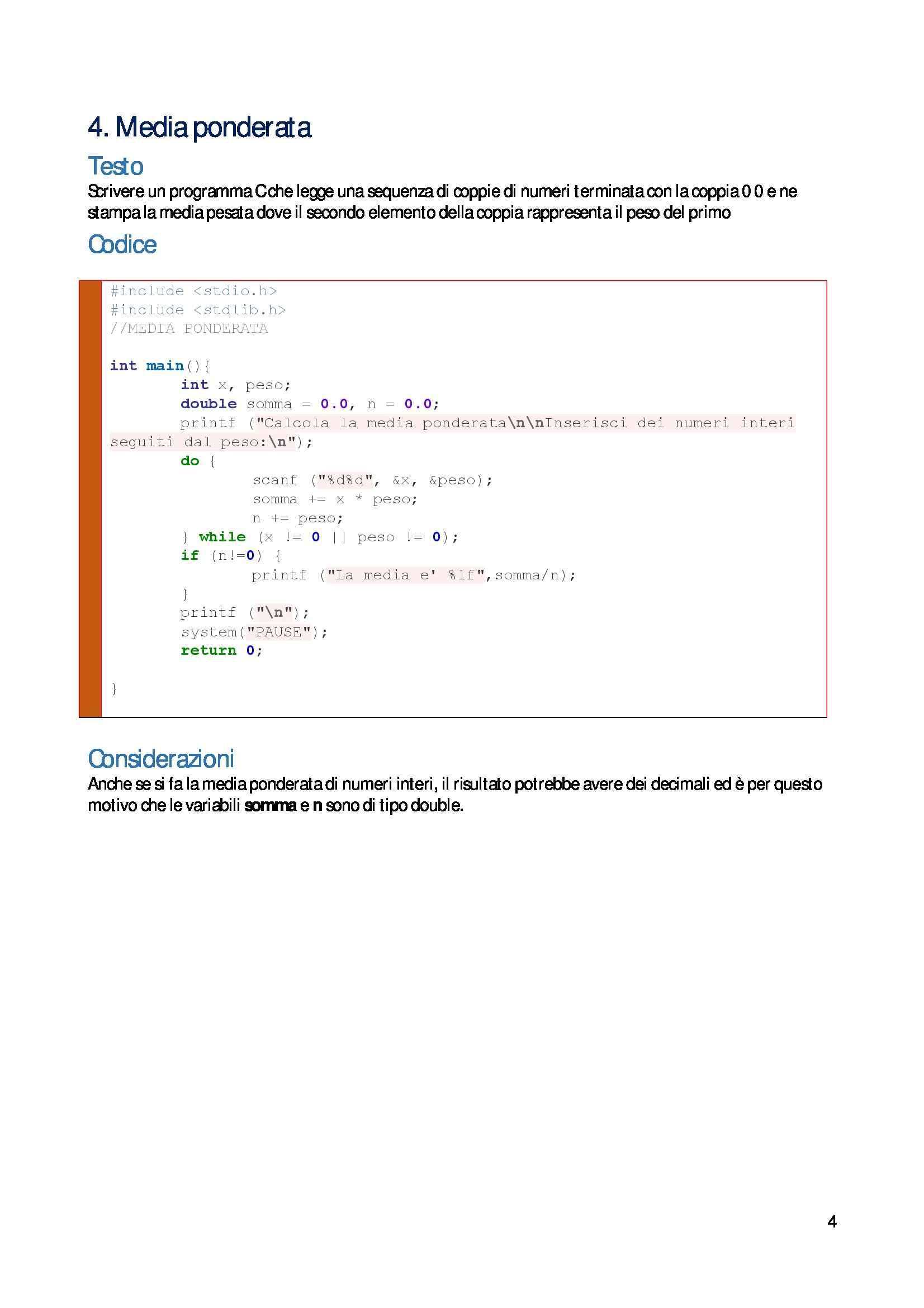 Informatica generale - esercitazioni di programmazione C Pag. 6