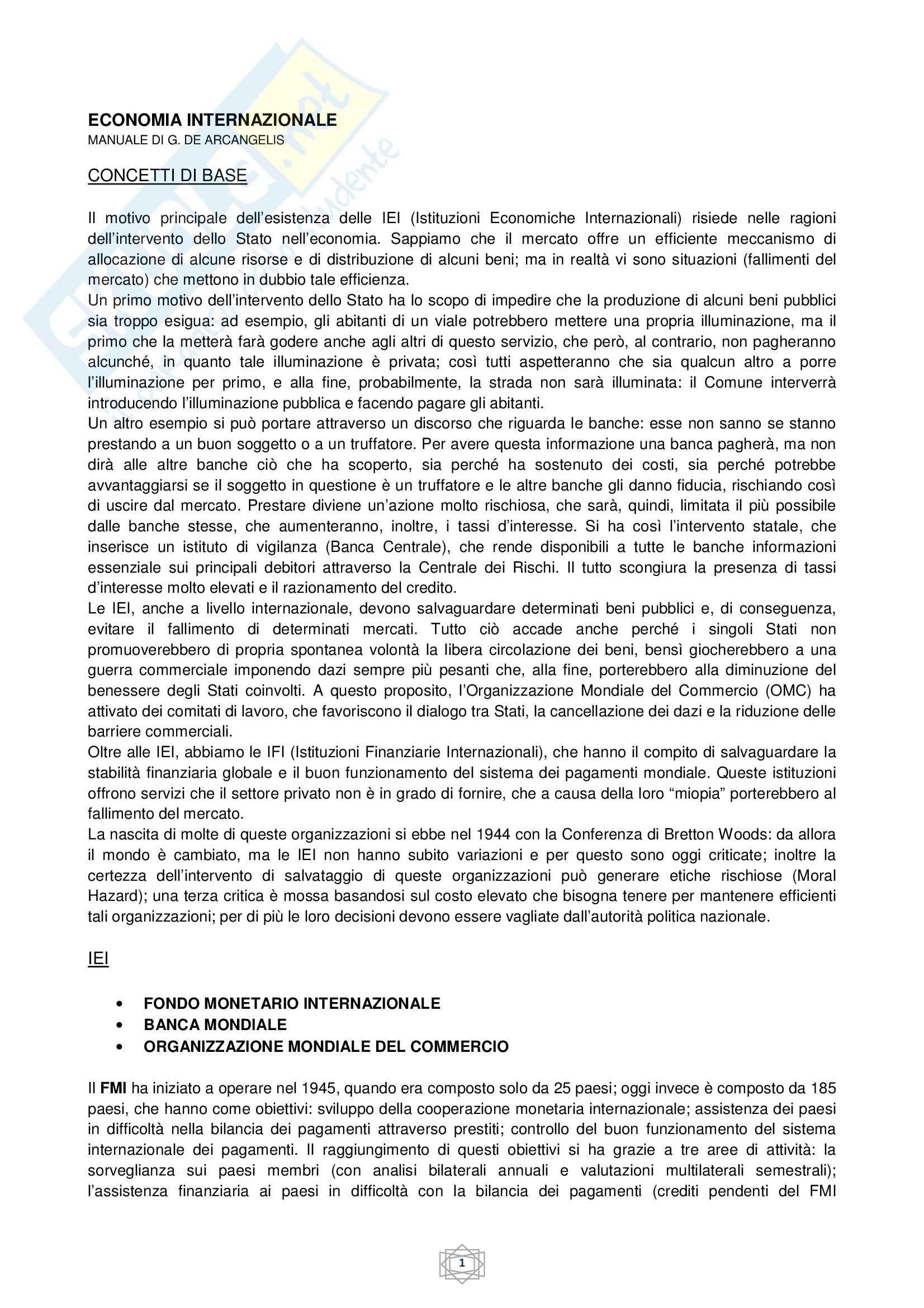 Riassunto esame Economia internazionale, prof. Atzeni, libro consigliato Economia internazionale, di De Arcangelis