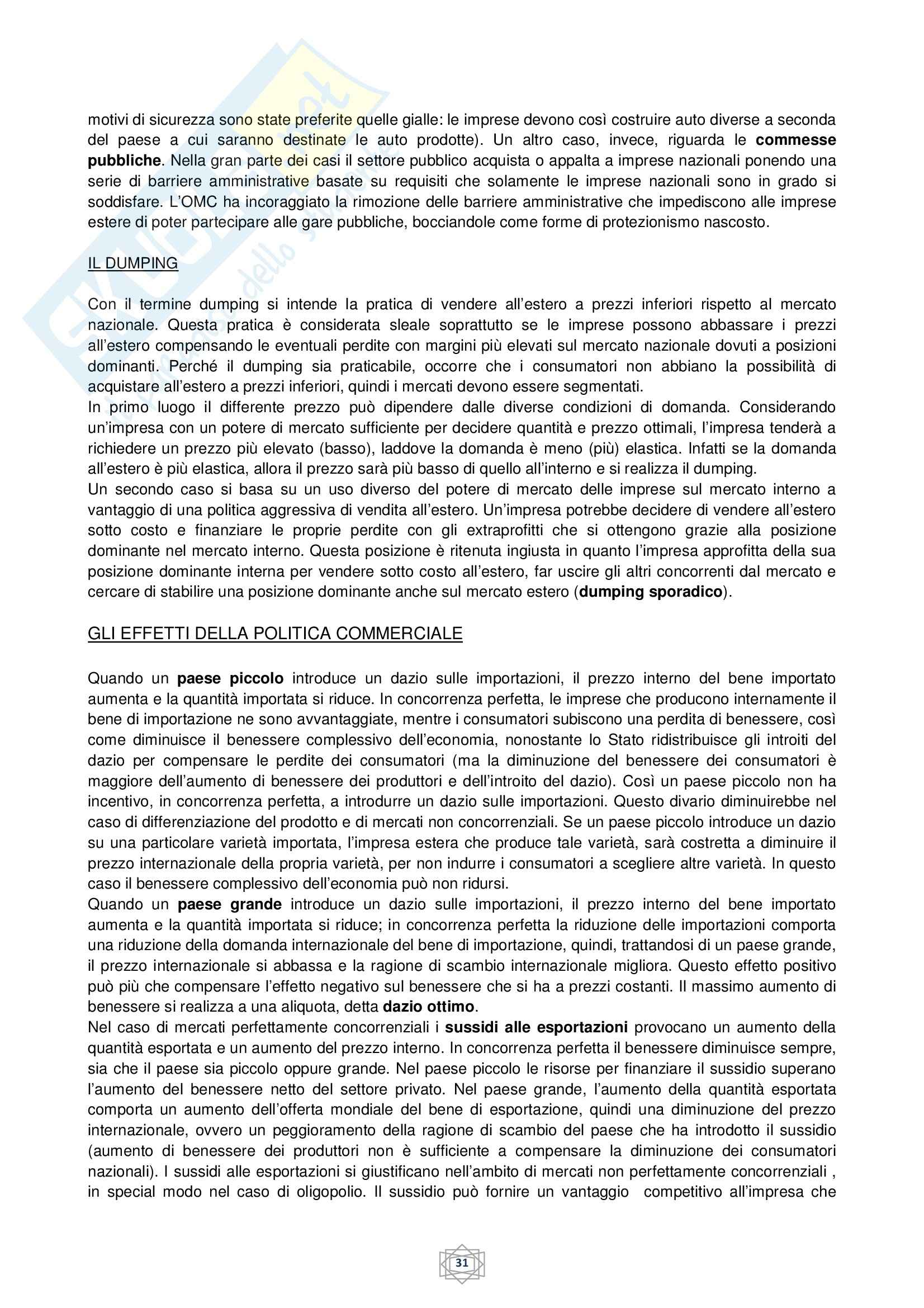 Riassunto esame Economia internazionale, prof. Atzeni, libro consigliato Economia internazionale, di De Arcangelis Pag. 31