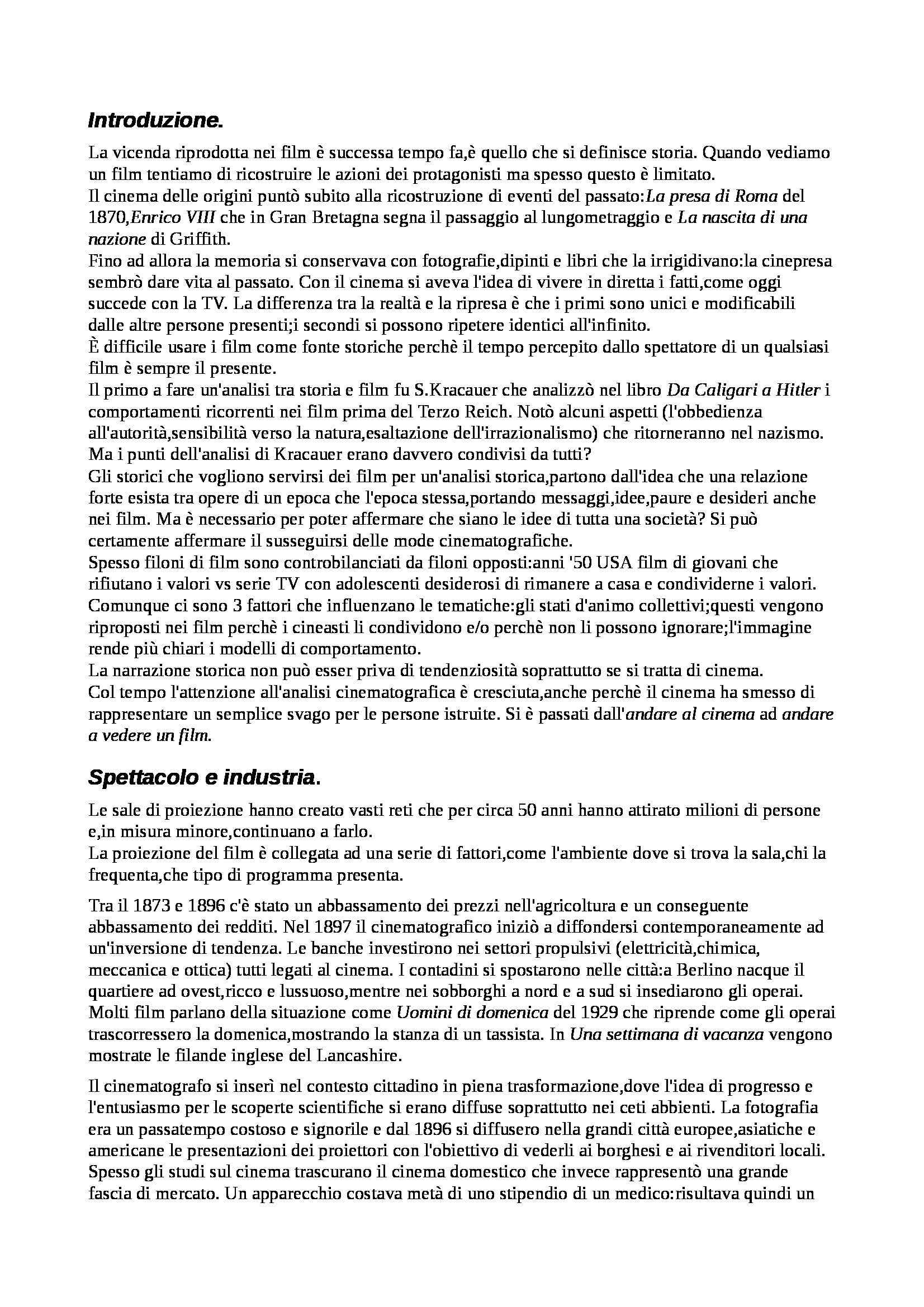 Riassunto esame Storia e Critica del Cinema, prof. Subini, libro consigliato Ombre Passeggere: Cinema e Storia, Sorlin