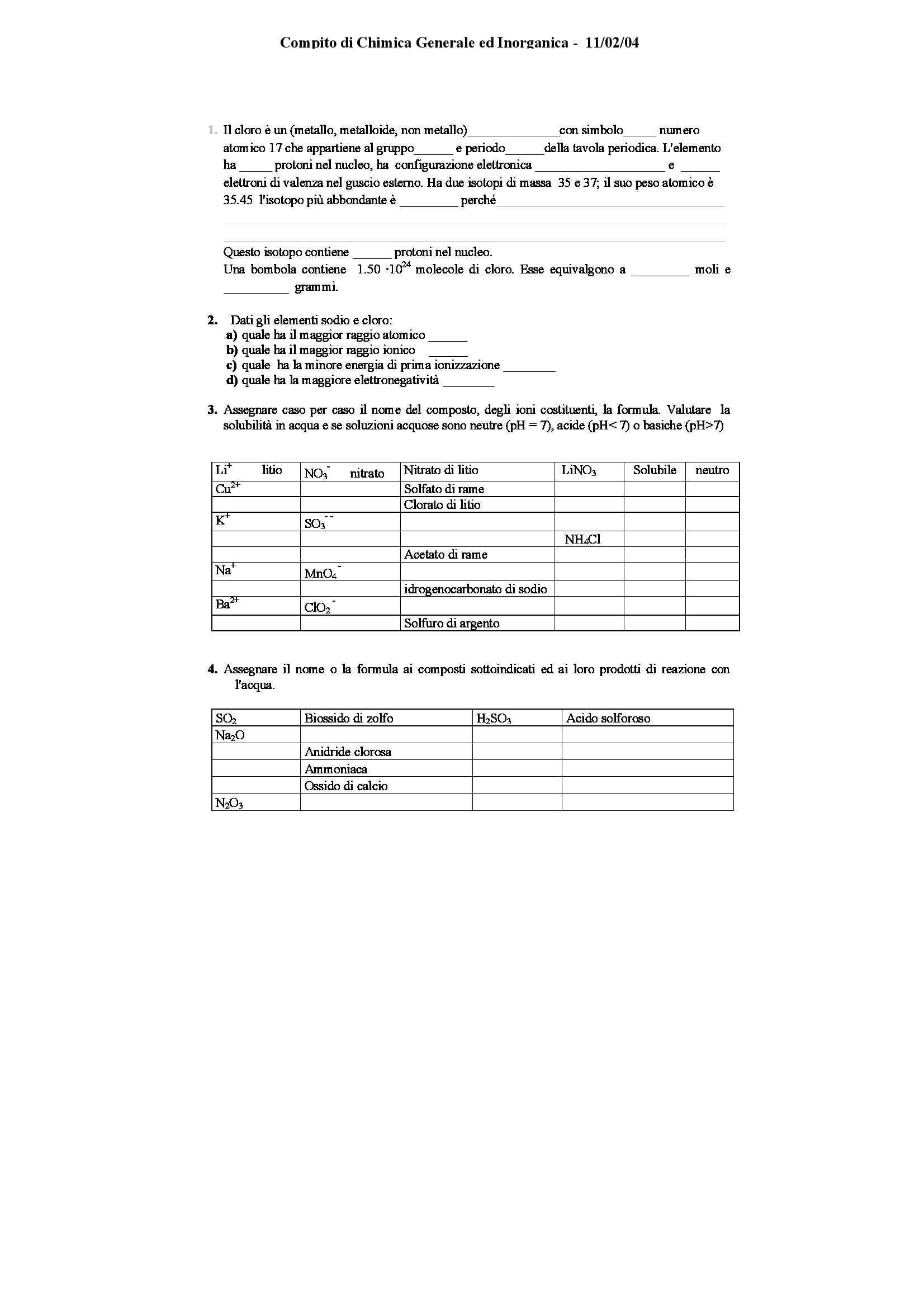 Chimica generale e inorganica - vari esercizi