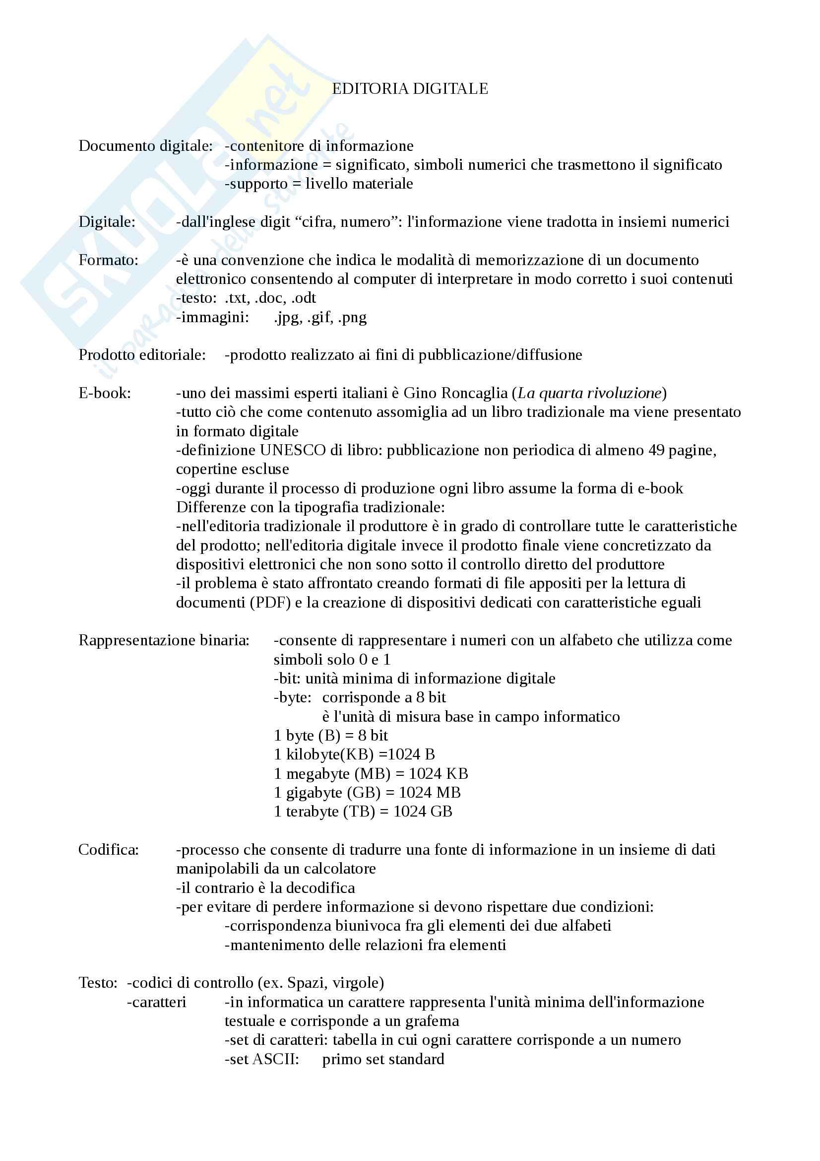Riassunto esame Editoria digitale, prof. Ferrari, libro consigliato Editoria digitale, Lupia, Tavosanis, Gervasi