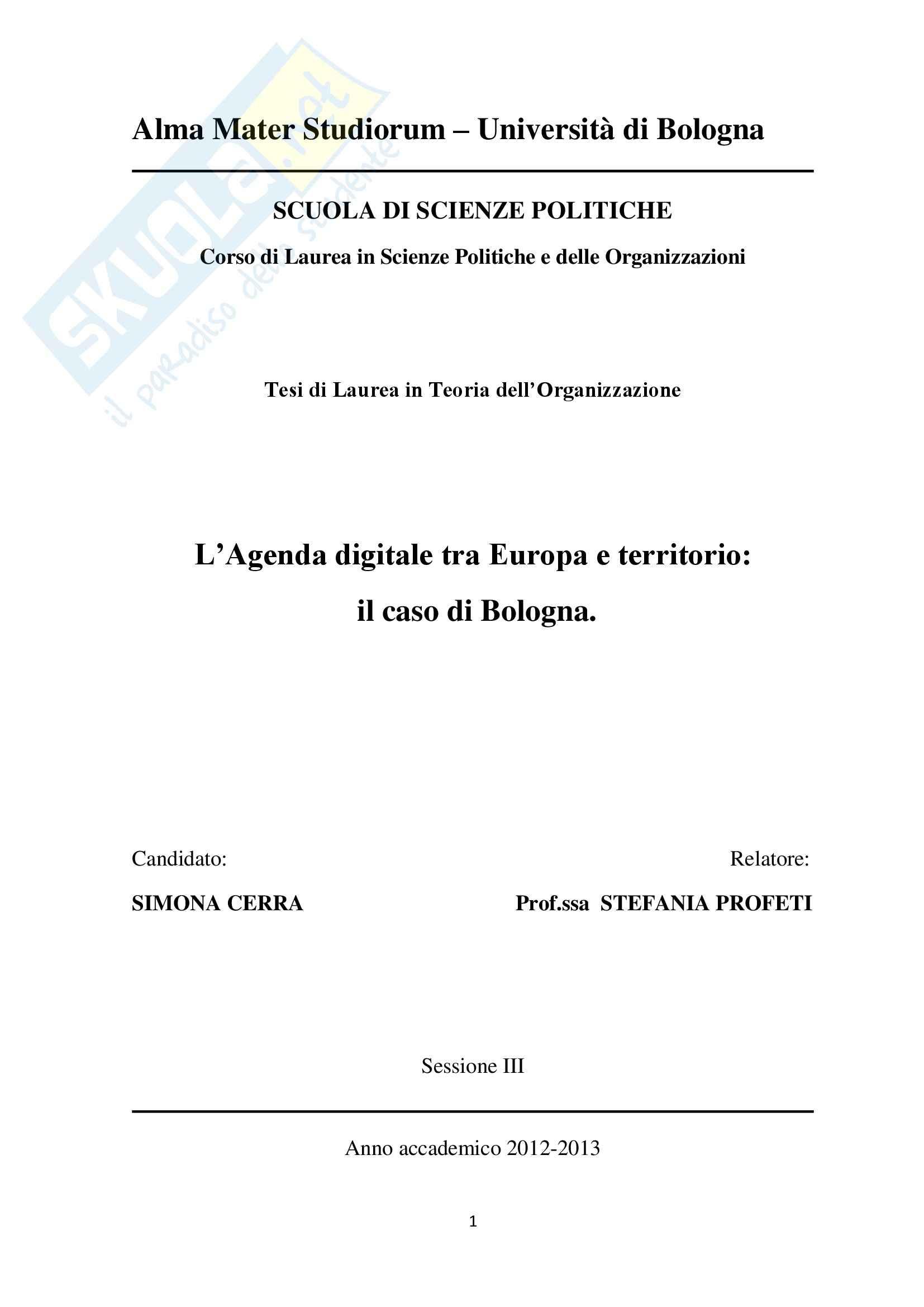 Tesi, L'Agenda digitale tra Europa e territorio: il caso di Bologna