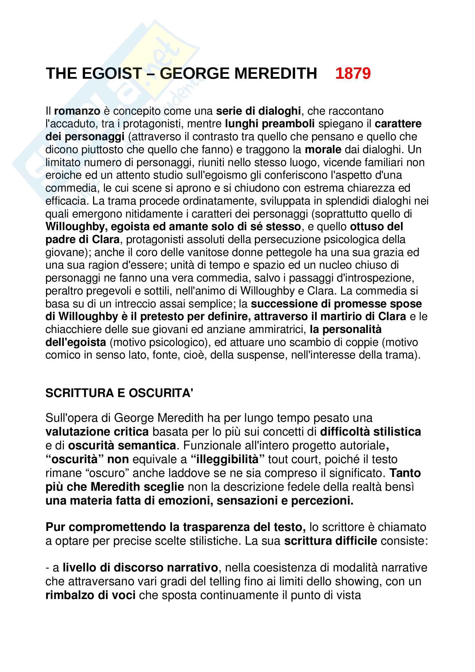 The Egoist analisi sintetica e completa di ogni aspetto + caratteristiche George Meredith