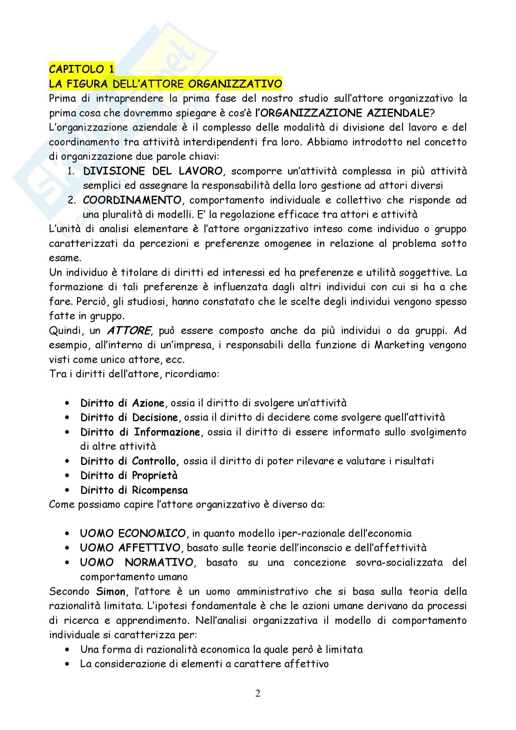 Riassunto esame Organizzazione Aziendale, prof. Briganti, libro consigliato L'Organizzazione delle Attività Economiche, Grandori