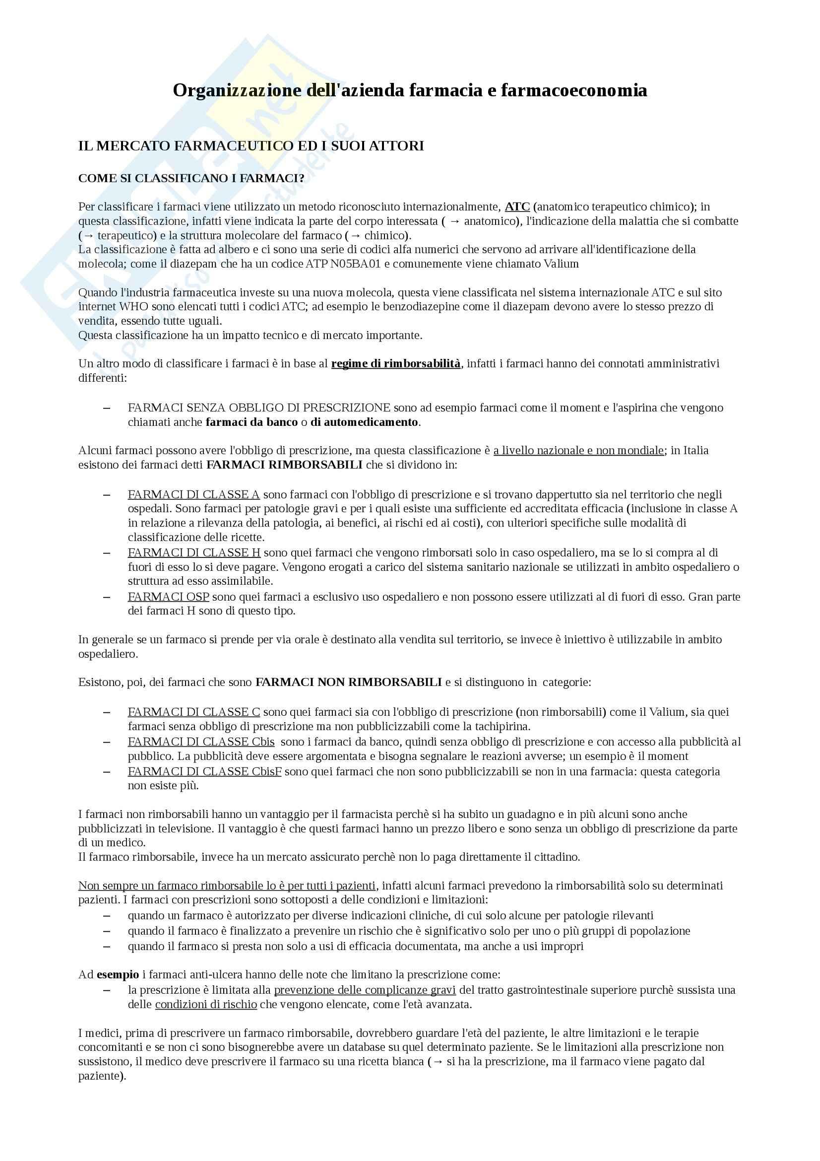Organizzazione dell'azienda farmacia e farmacoeconomia - Appunti