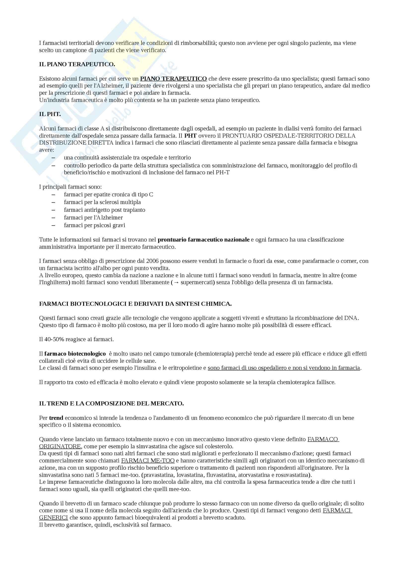 Organizzazione dell'azienda farmacia e farmacoeconomia - Appunti Pag. 2