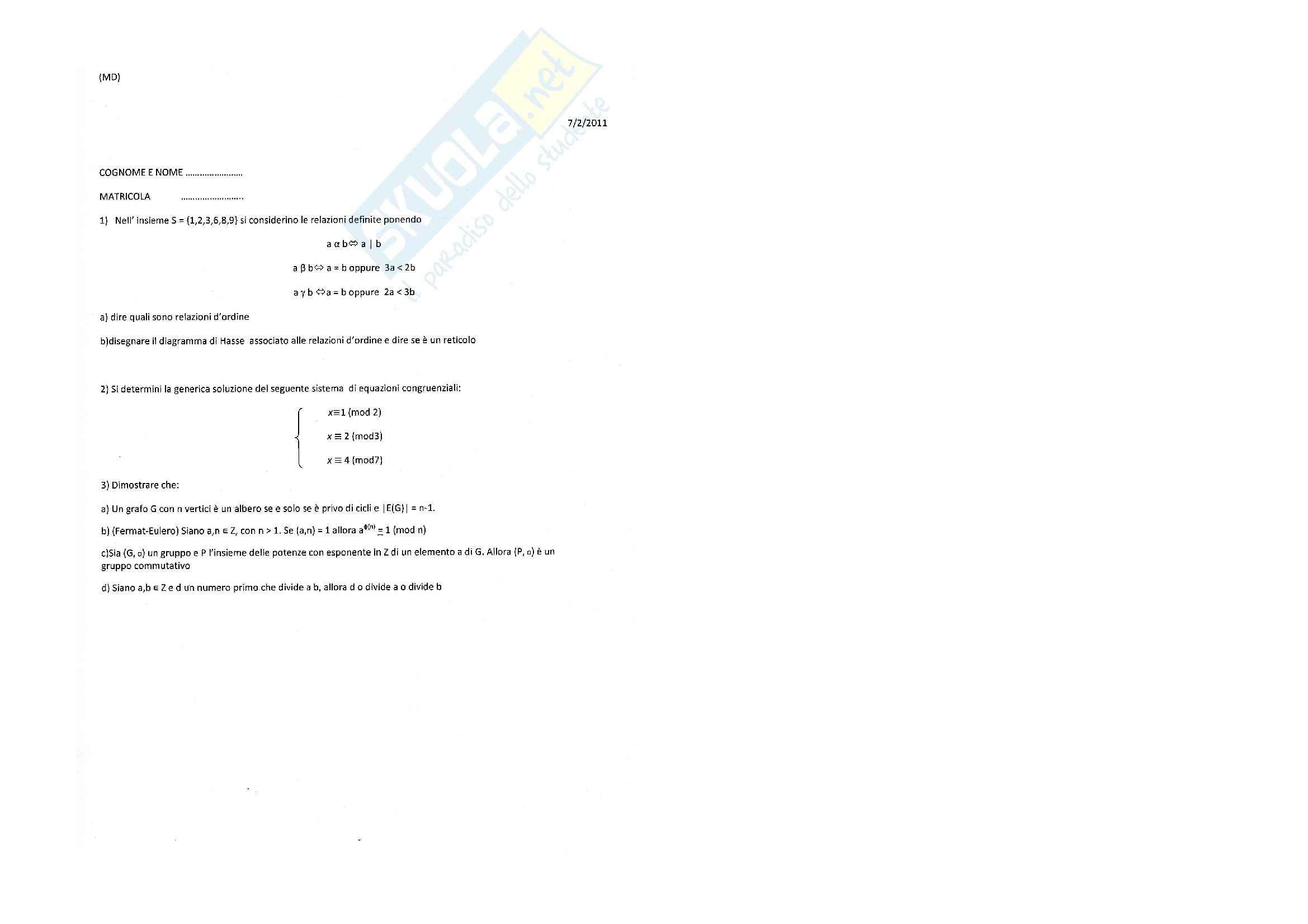 Matematica discreta - Esercitazione