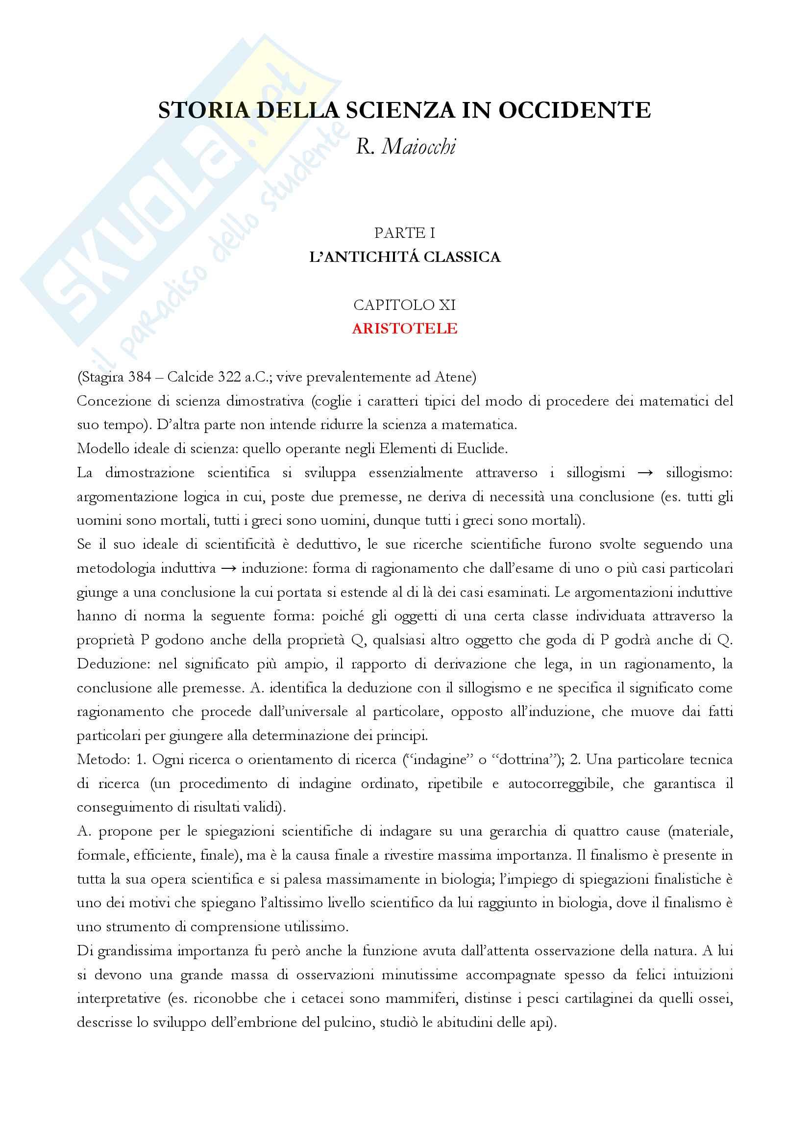 """Riassunto esame storia della scienza, Prof. Ciancio, libro consigliato """"Storia della scienza in Occidente"""" (R. Maiocchi)"""