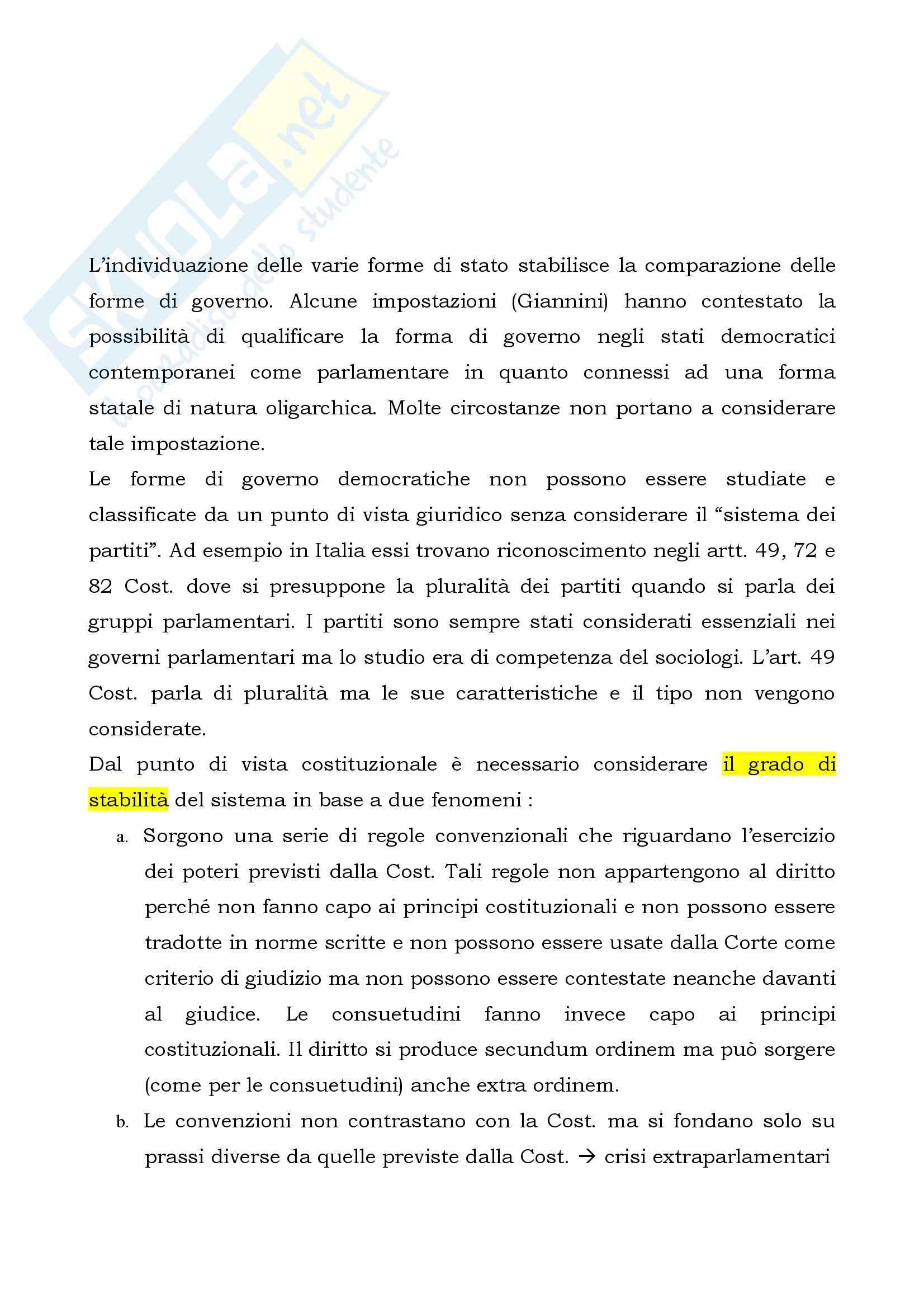 Riassunto esame Diritto Costituzionale, prof. Luciani, libro consigliato Le Forme di Governo