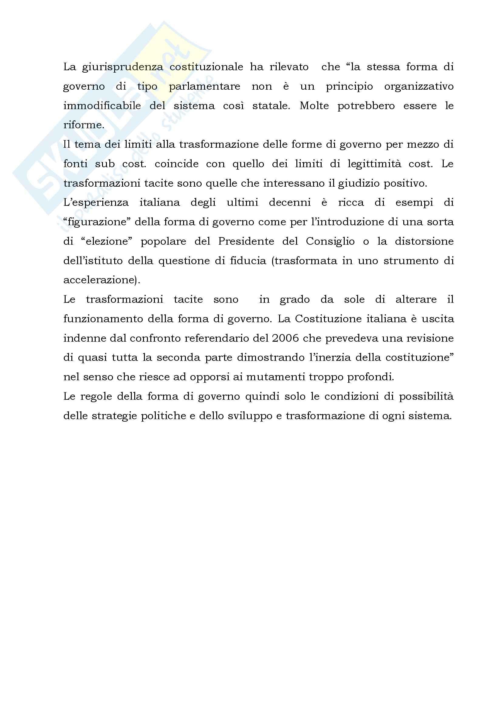 Riassunto esame Diritto Costituzionale, prof. Luciani, libro consigliato Le Forme di Governo Pag. 21