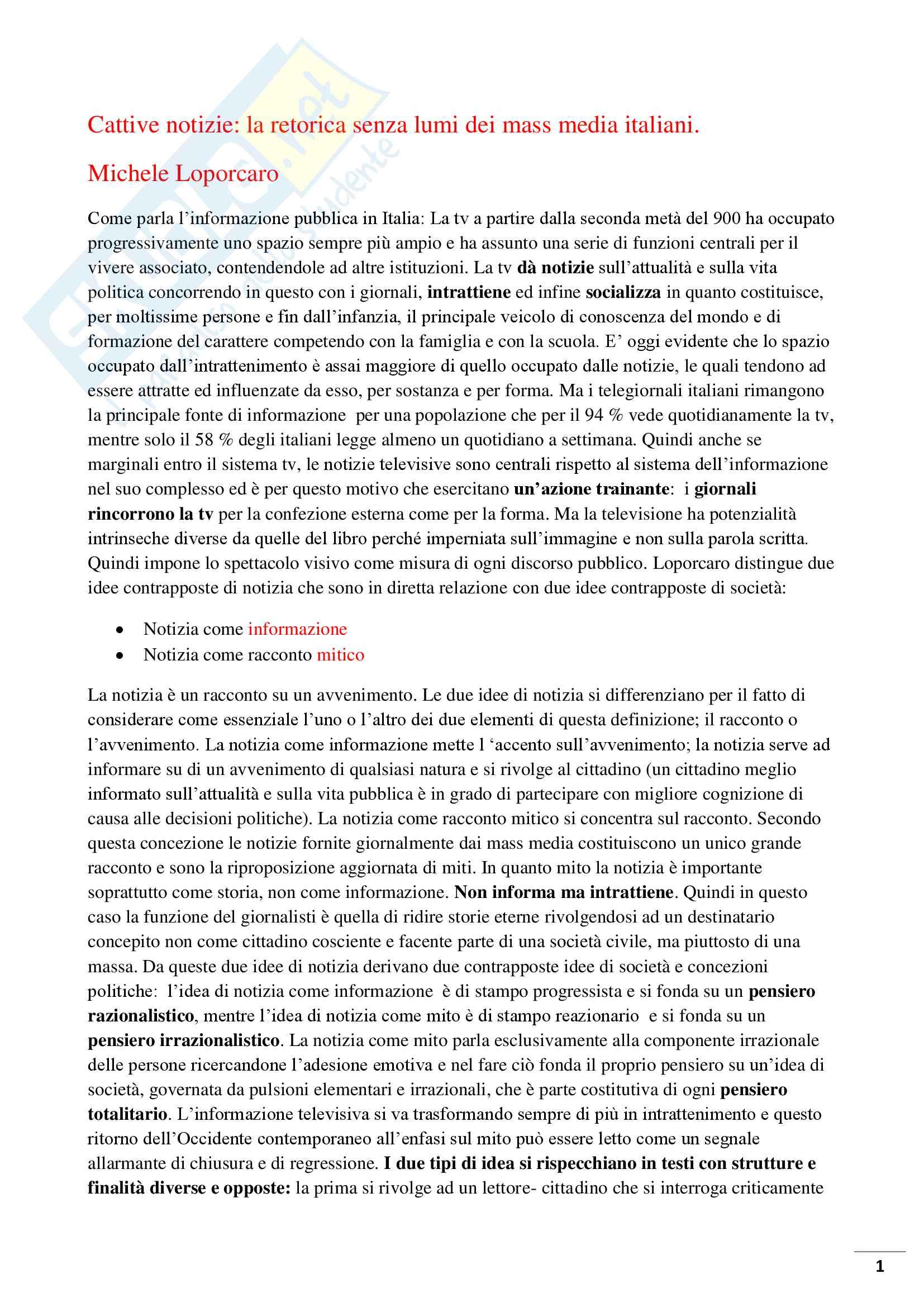 Riassunto esame Linguistica dei media, prof Bonomi, libro consigliato, Cattive notizie di Michele Loporcaro