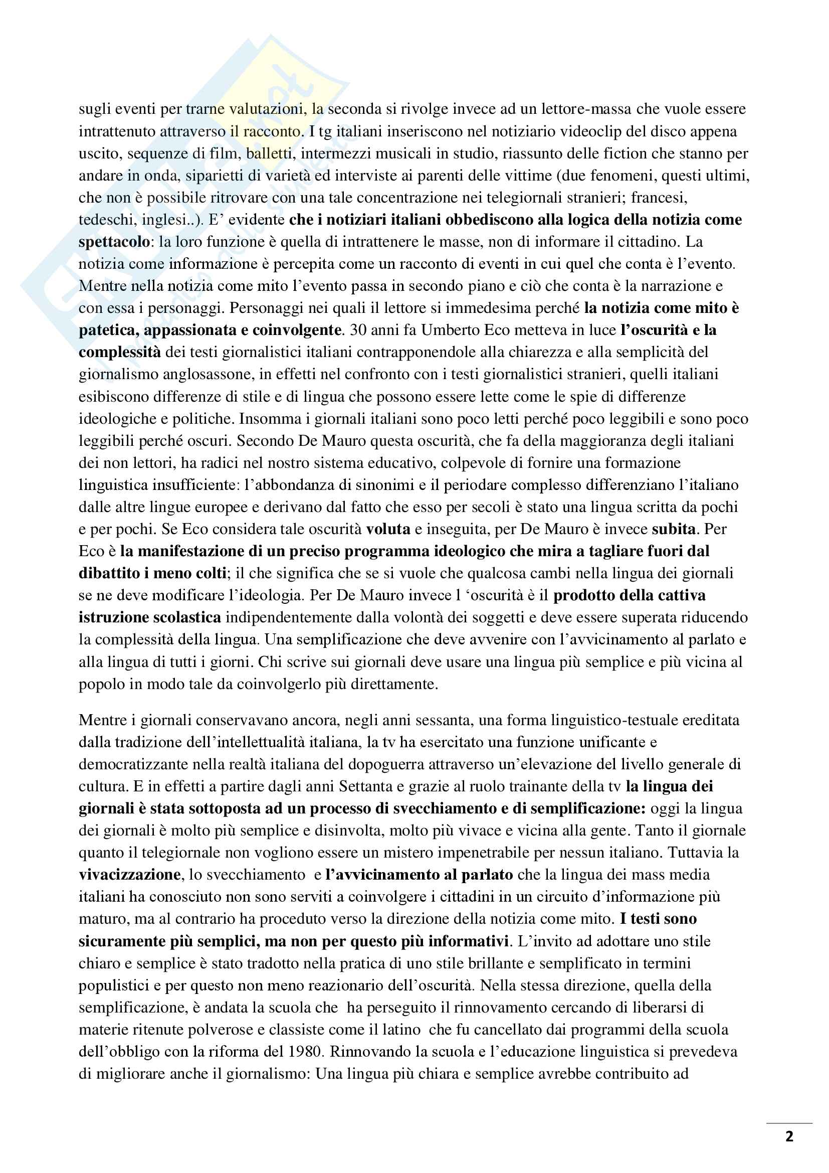 Riassunto esame Linguistica dei media, prof Bonomi, libro consigliato, Cattive notizie di Michele Loporcaro Pag. 2