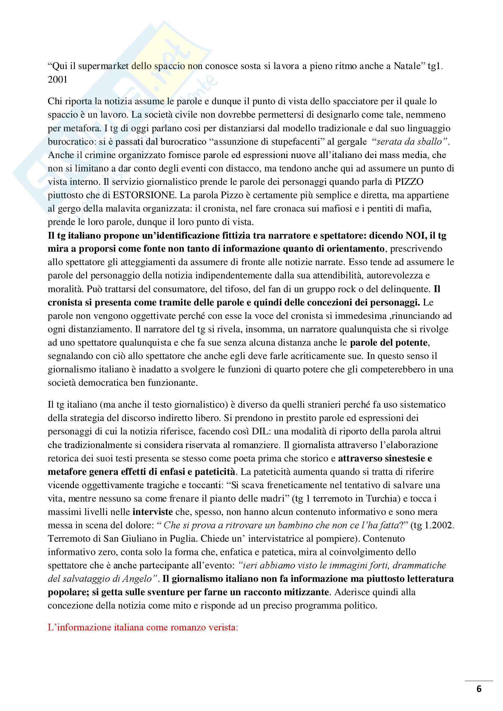 Riassunto esame Linguistica dei media, prof Bonomi, libro consigliato, Cattive notizie di Michele Loporcaro Pag. 6